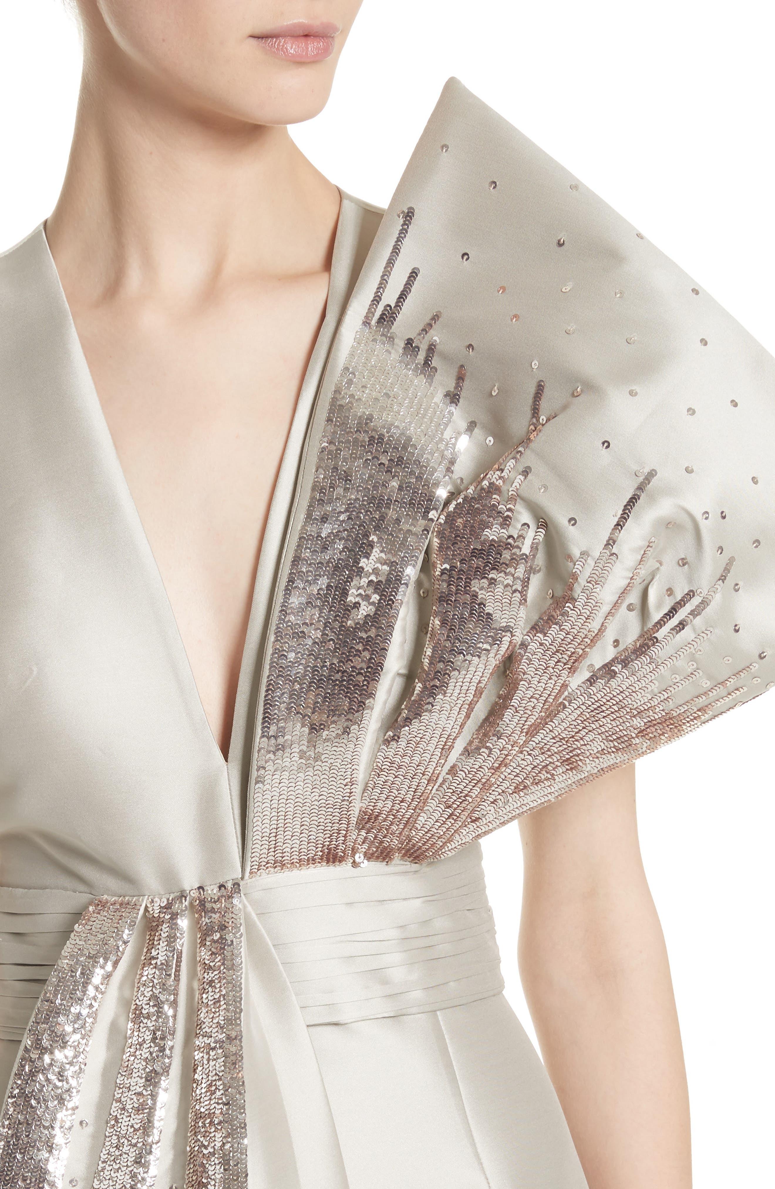 Noir Embellished V-Neck Gown,                             Alternate thumbnail 4, color,                             250