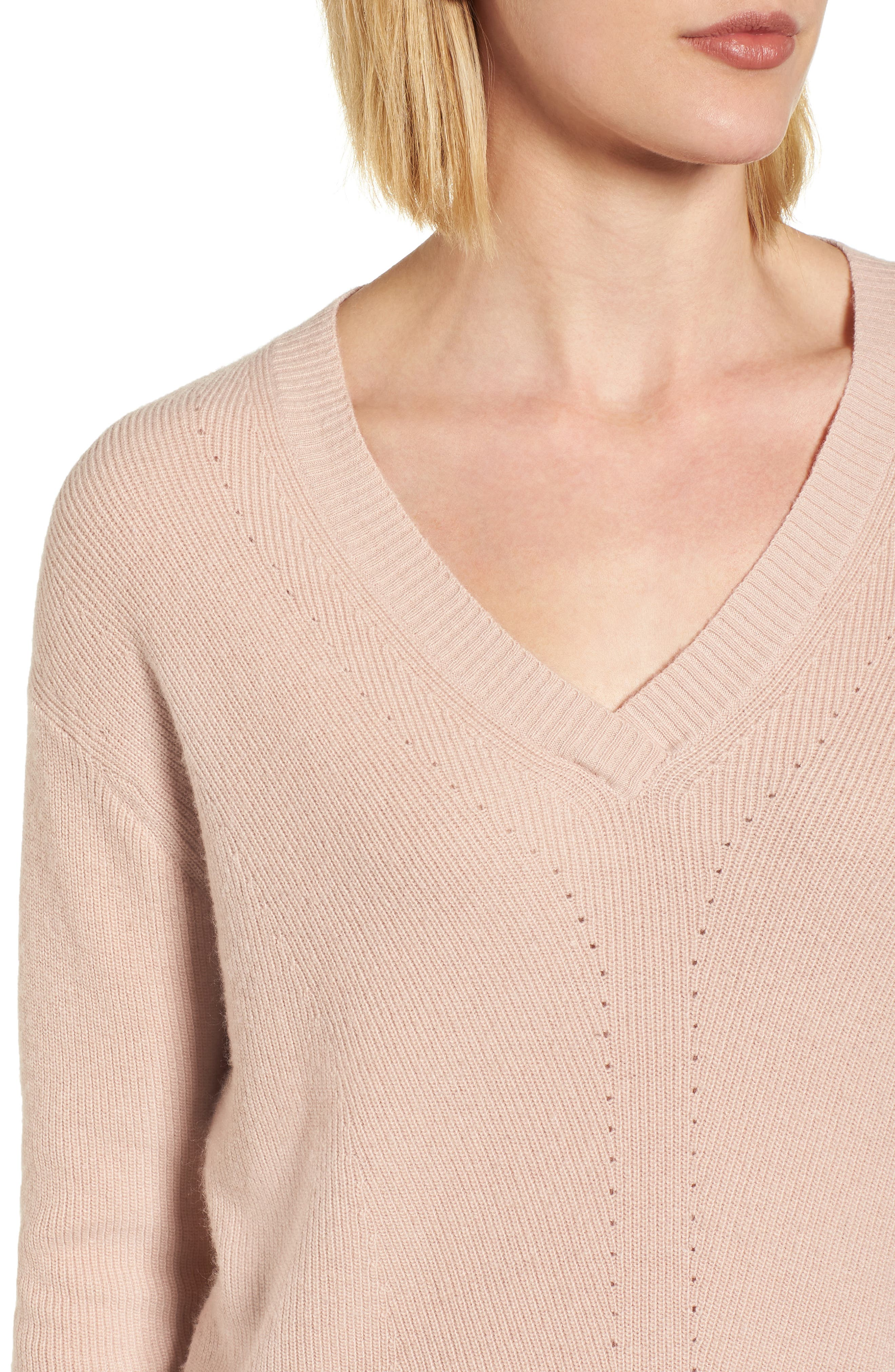 V-Neck Sweater,                             Alternate thumbnail 4, color,