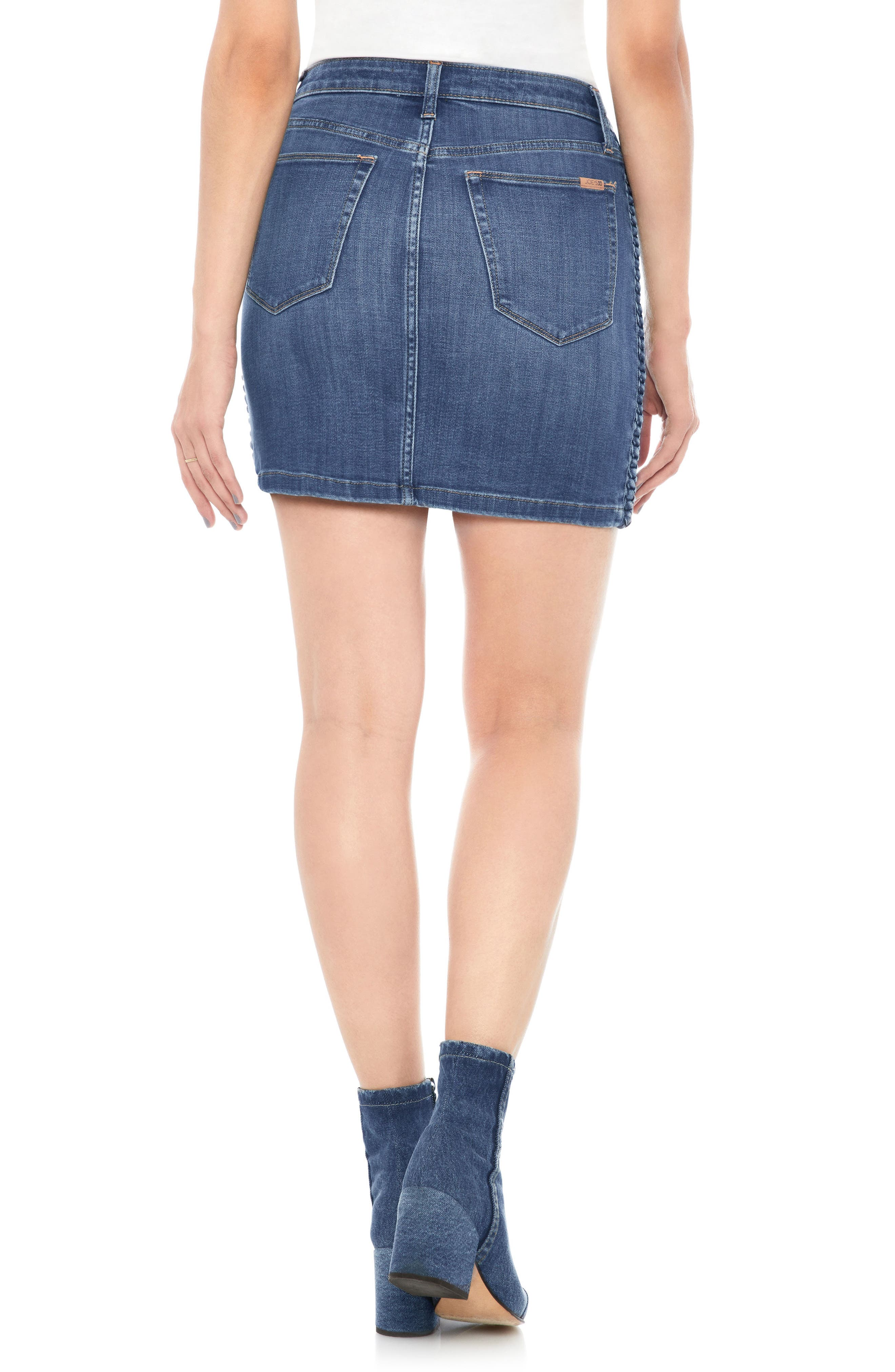 High Waist Denim Miniskirt,                             Alternate thumbnail 2, color,                             PANDORA