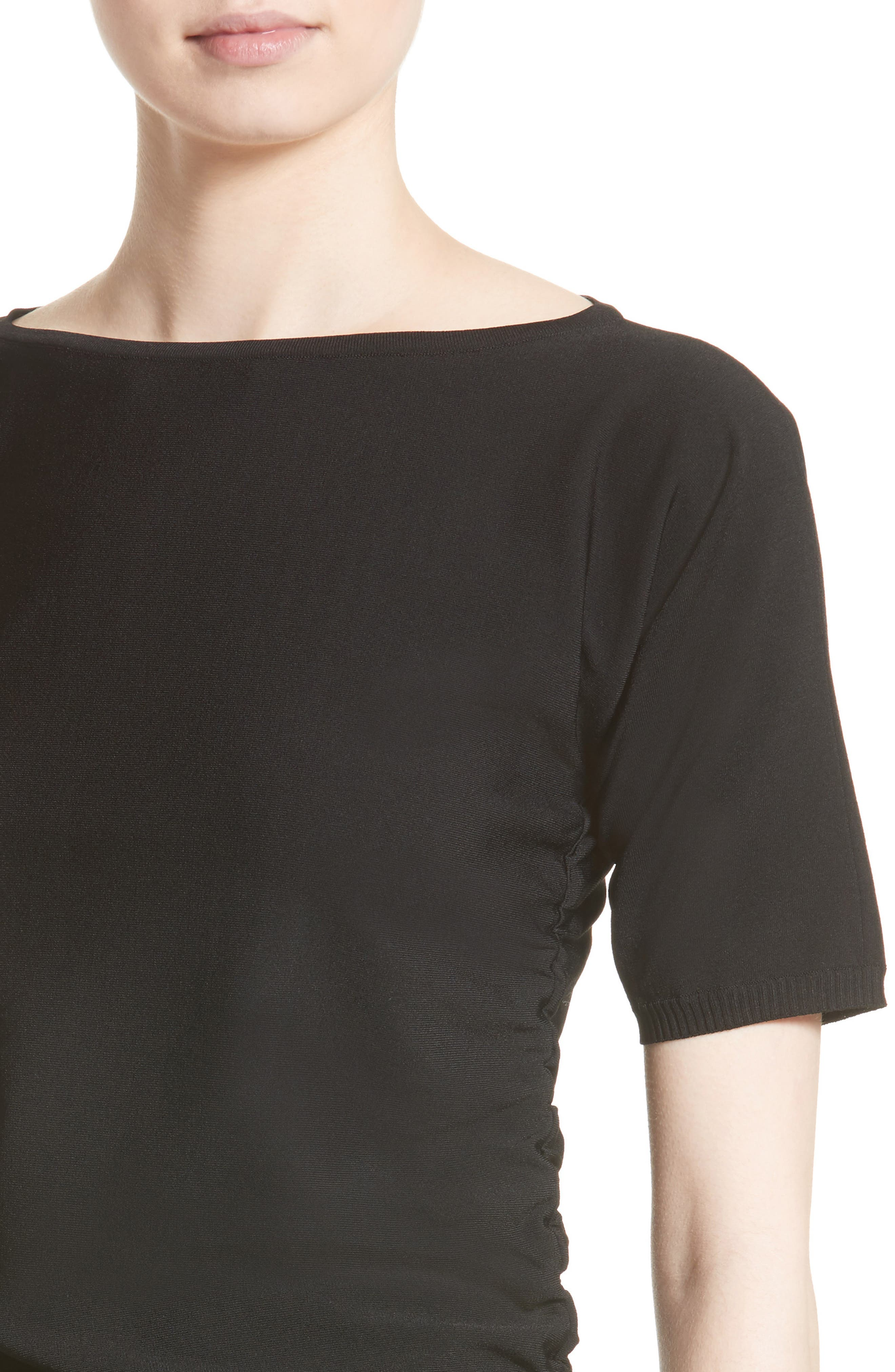 Joice Ruched Knit Top,                             Alternate thumbnail 4, color,                             001