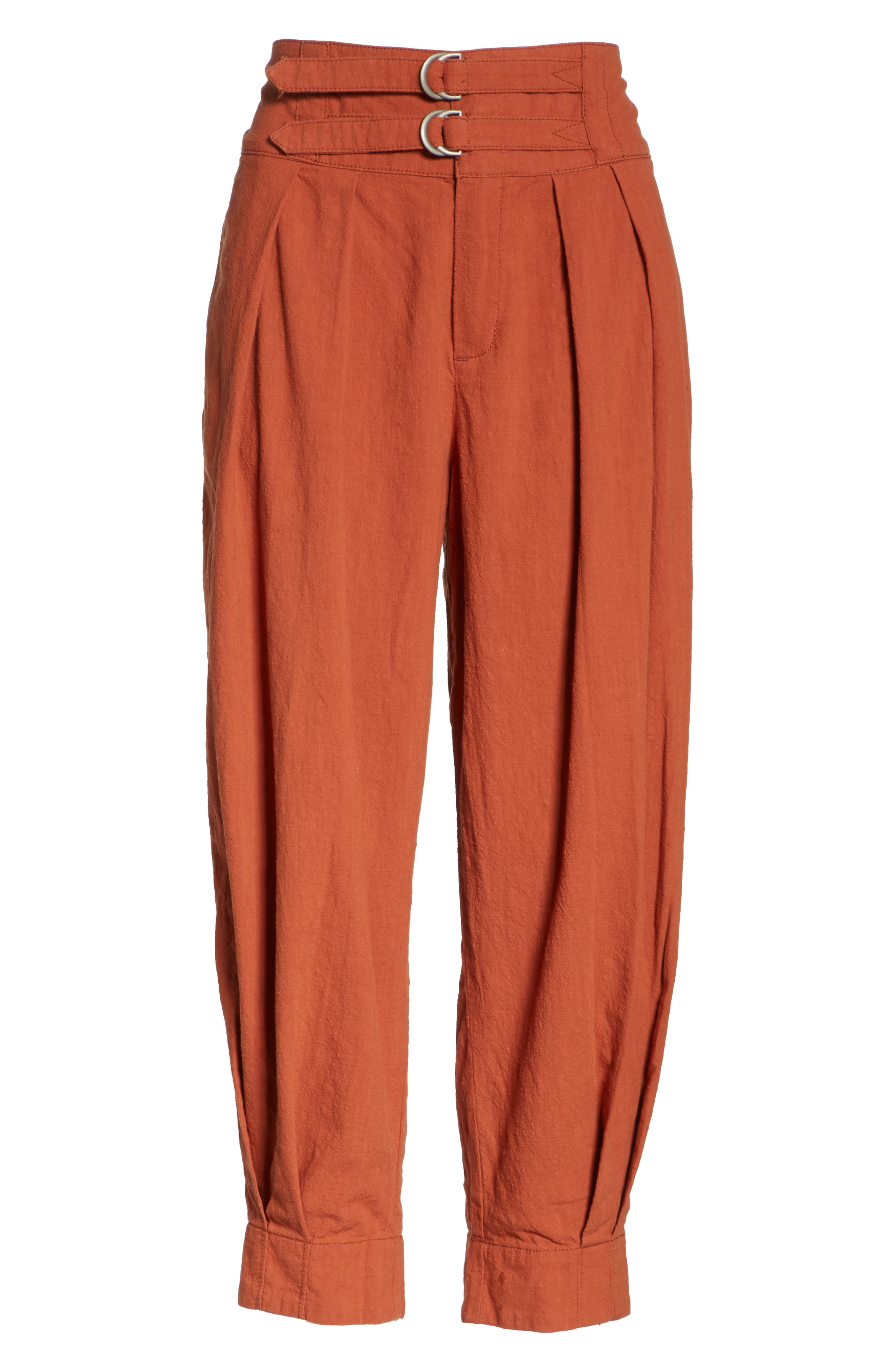 Double Buckle Crop Trousers,                             Alternate thumbnail 6, color,                             BROWN