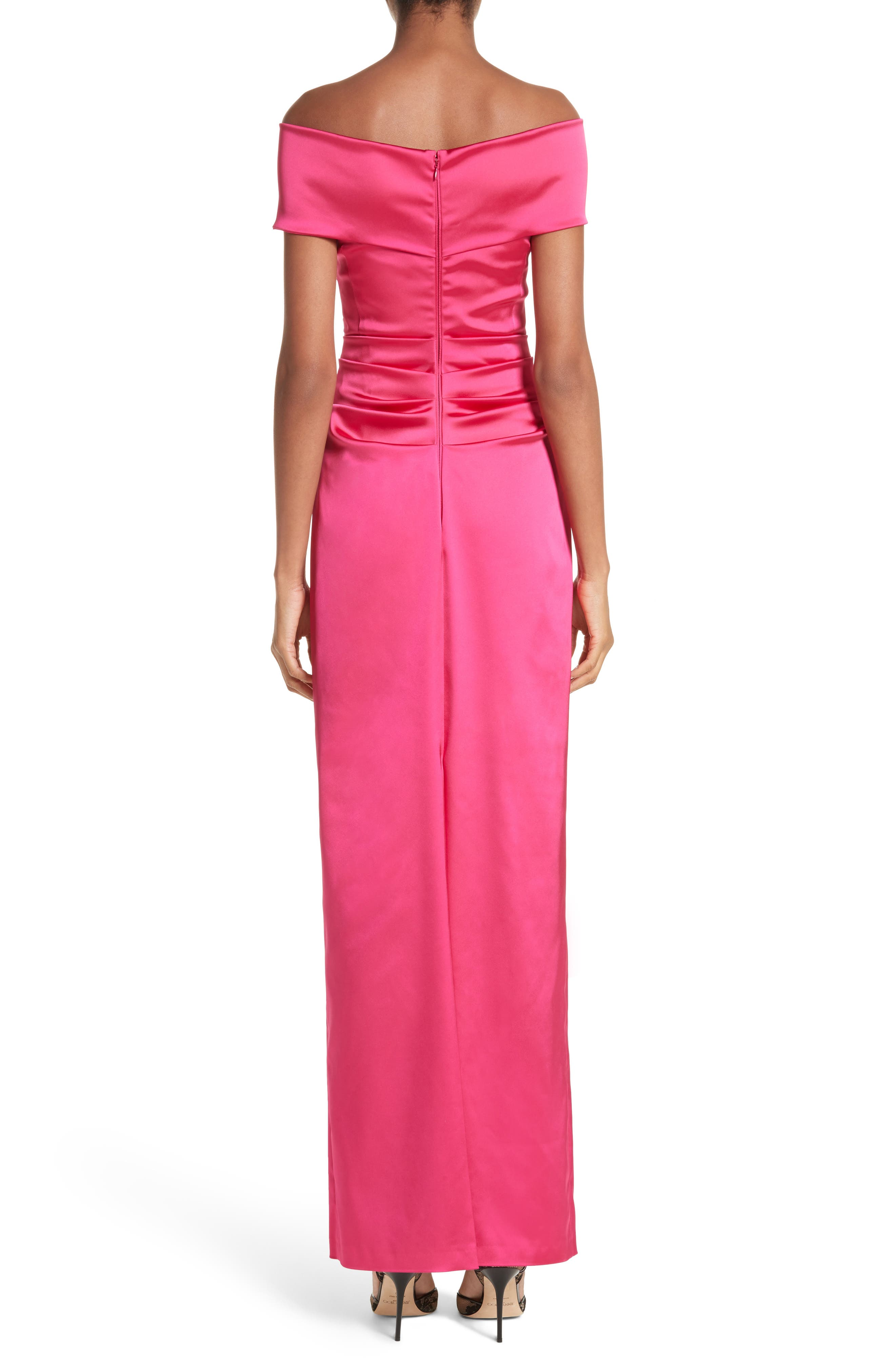 Stretch Satin Off the Shoulder Column Gown,                             Alternate thumbnail 2, color,                             BEGONIA