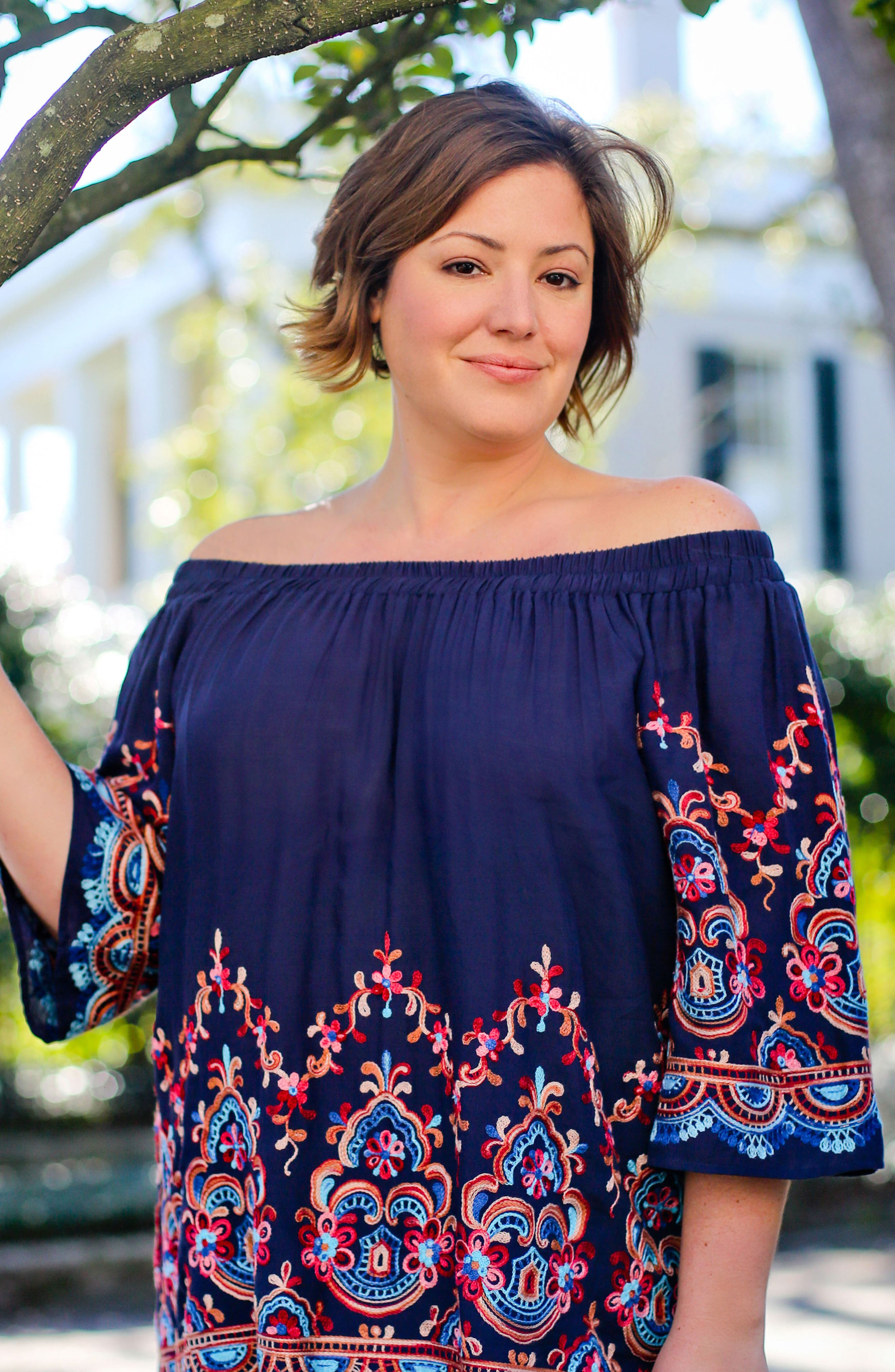 Embroidered Off the Shoulder Top,                             Alternate thumbnail 2, color,                             410