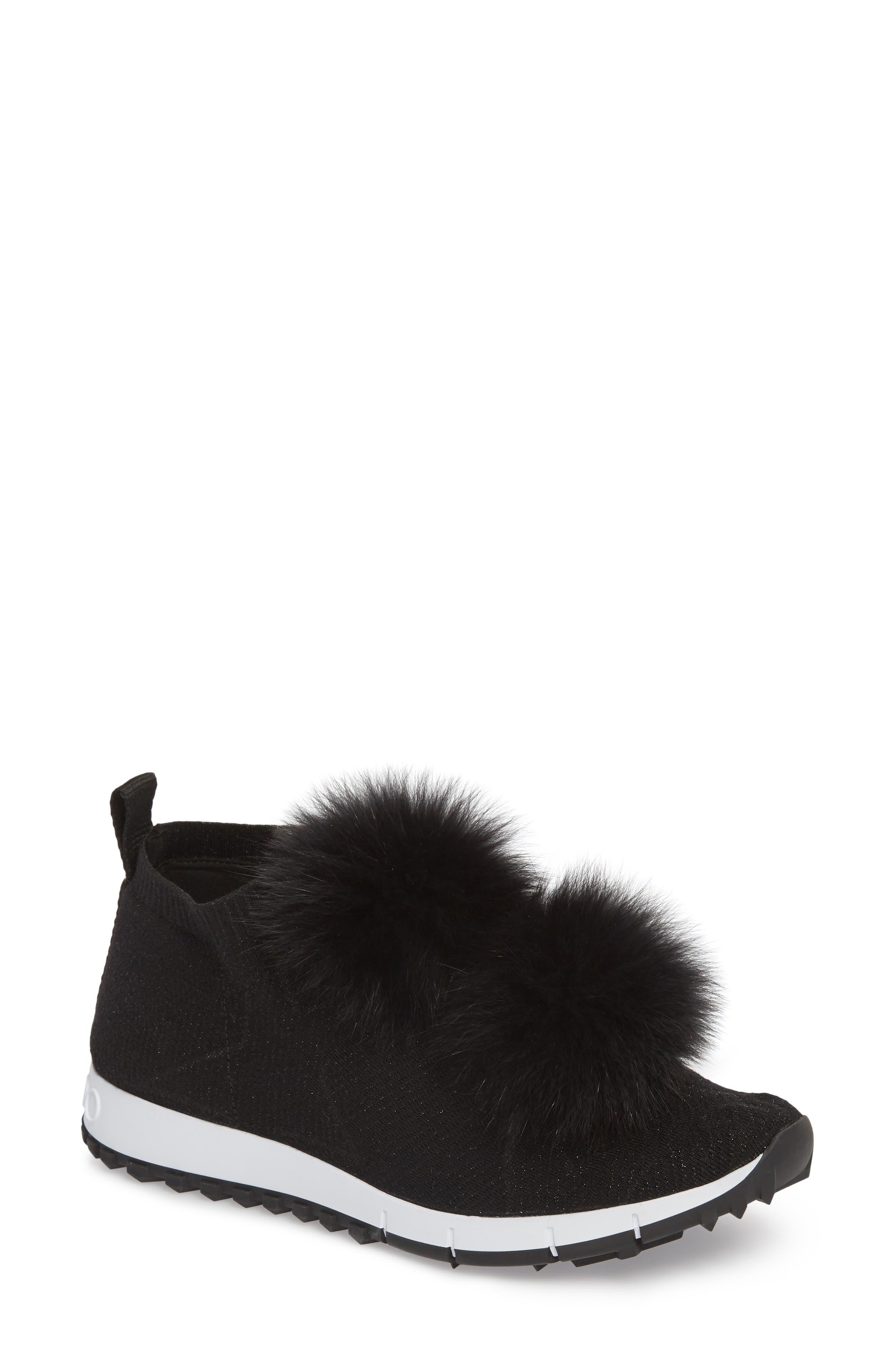 Genuine Fox Fur Sock Sneaker, Main, color, BLACK