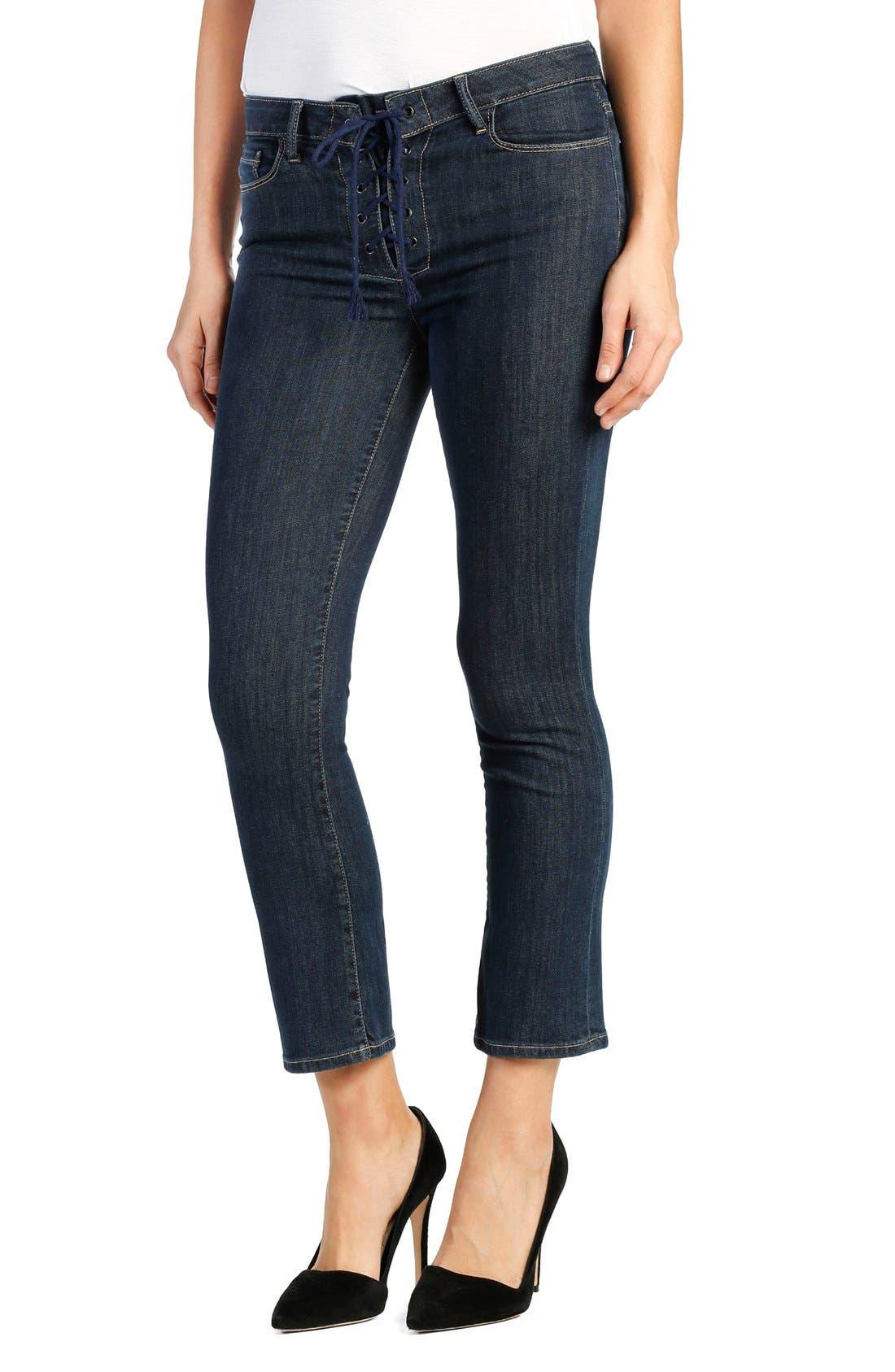 Legacy - Colette High Rise Lace-Up Crop Jeans,                             Alternate thumbnail 4, color,                             400