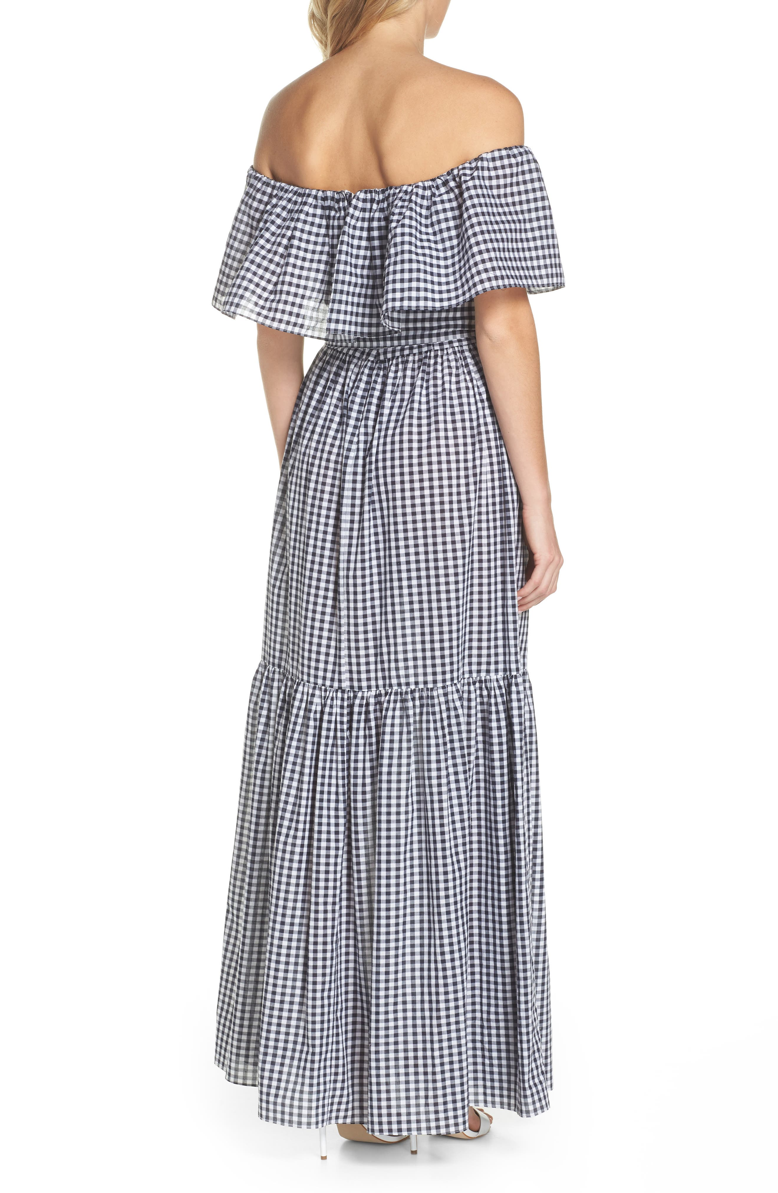 Off the Shoulder Ruffle Gingham Maxi Dress,                             Alternate thumbnail 2, color,                             410
