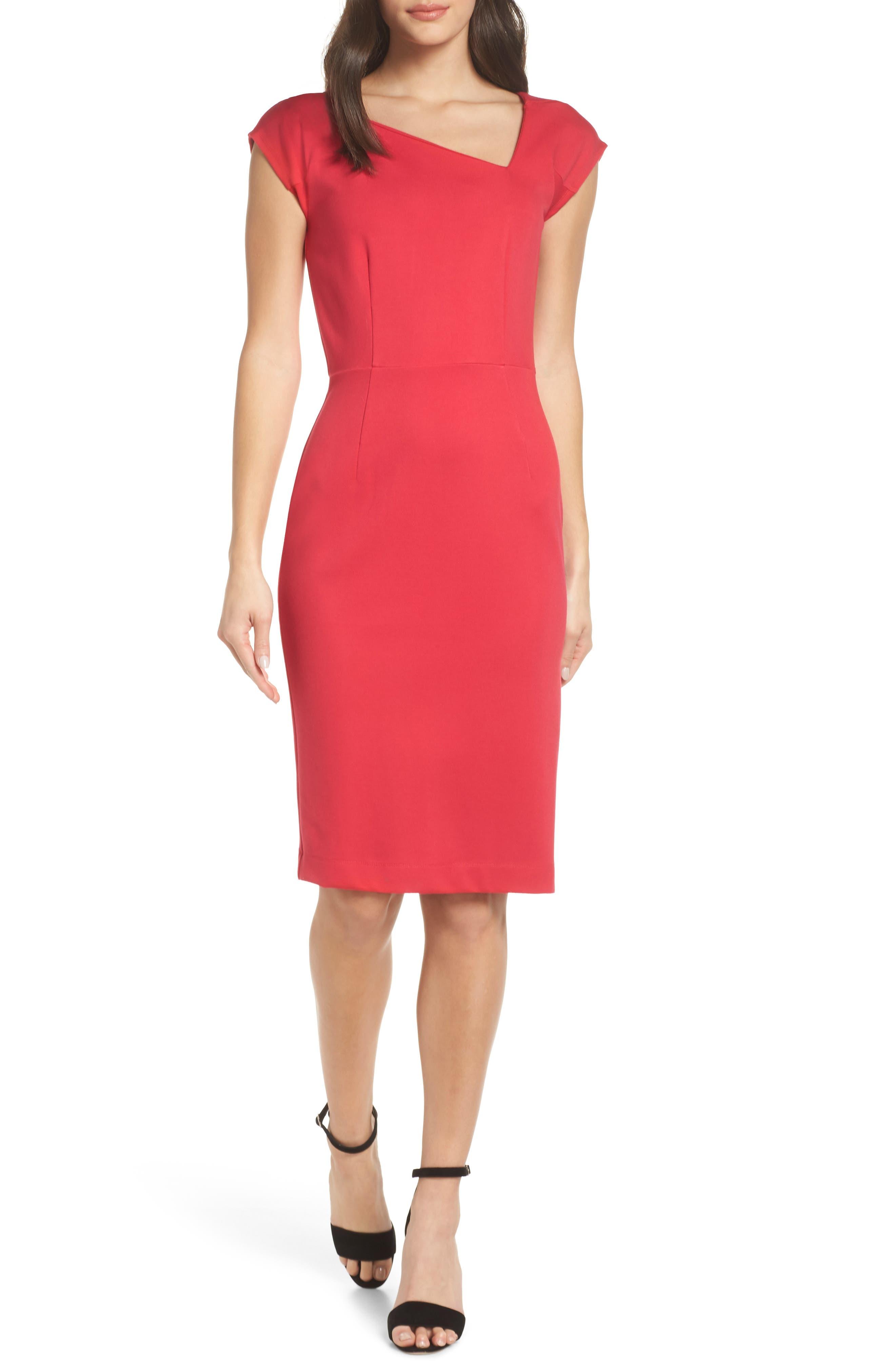 Lula Sheath Dress,                         Main,                         color, WATERMELON