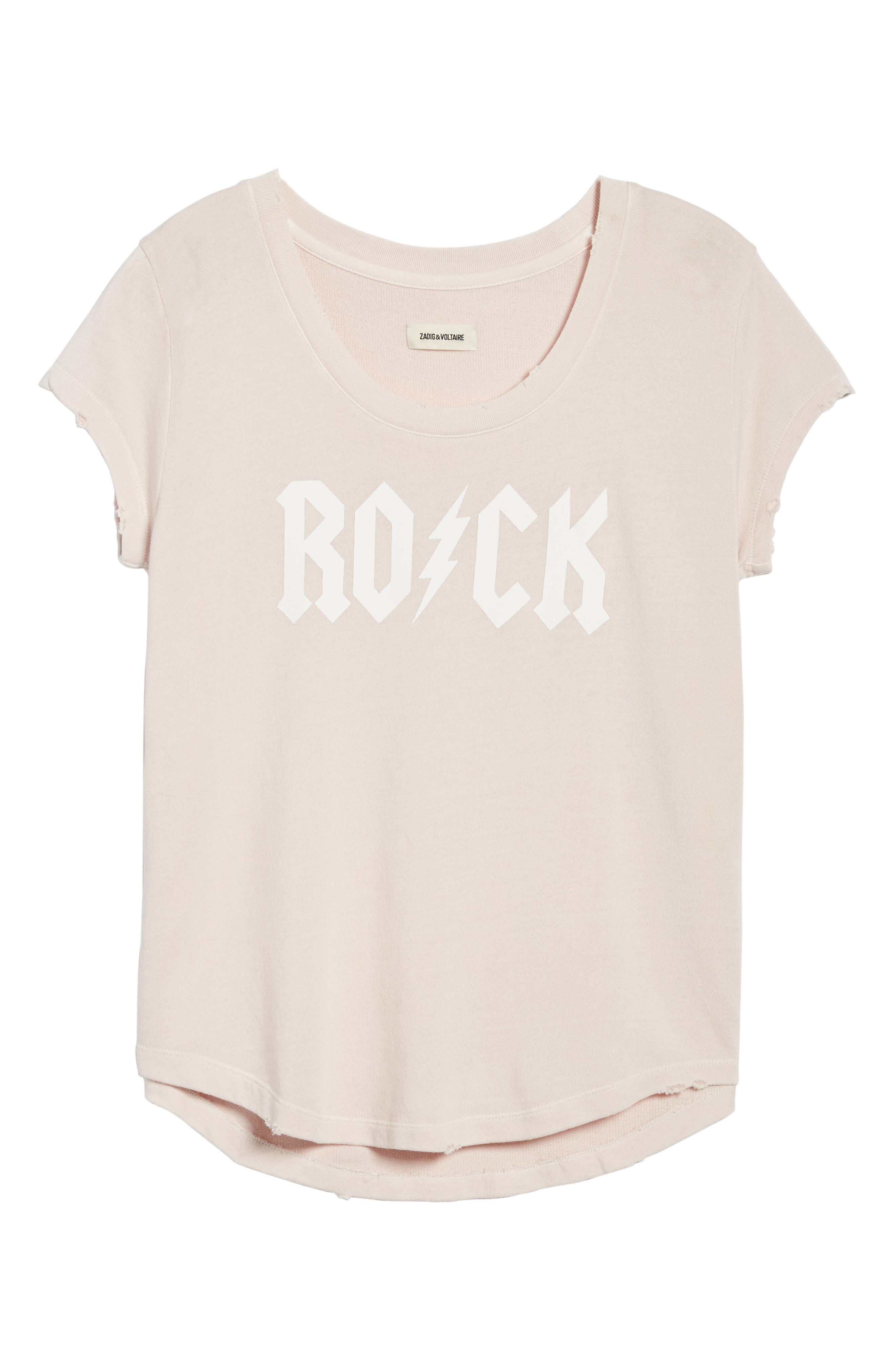 Rock & Roll Short Sleeve Sweatshirt,                             Alternate thumbnail 7, color,                             BEBE