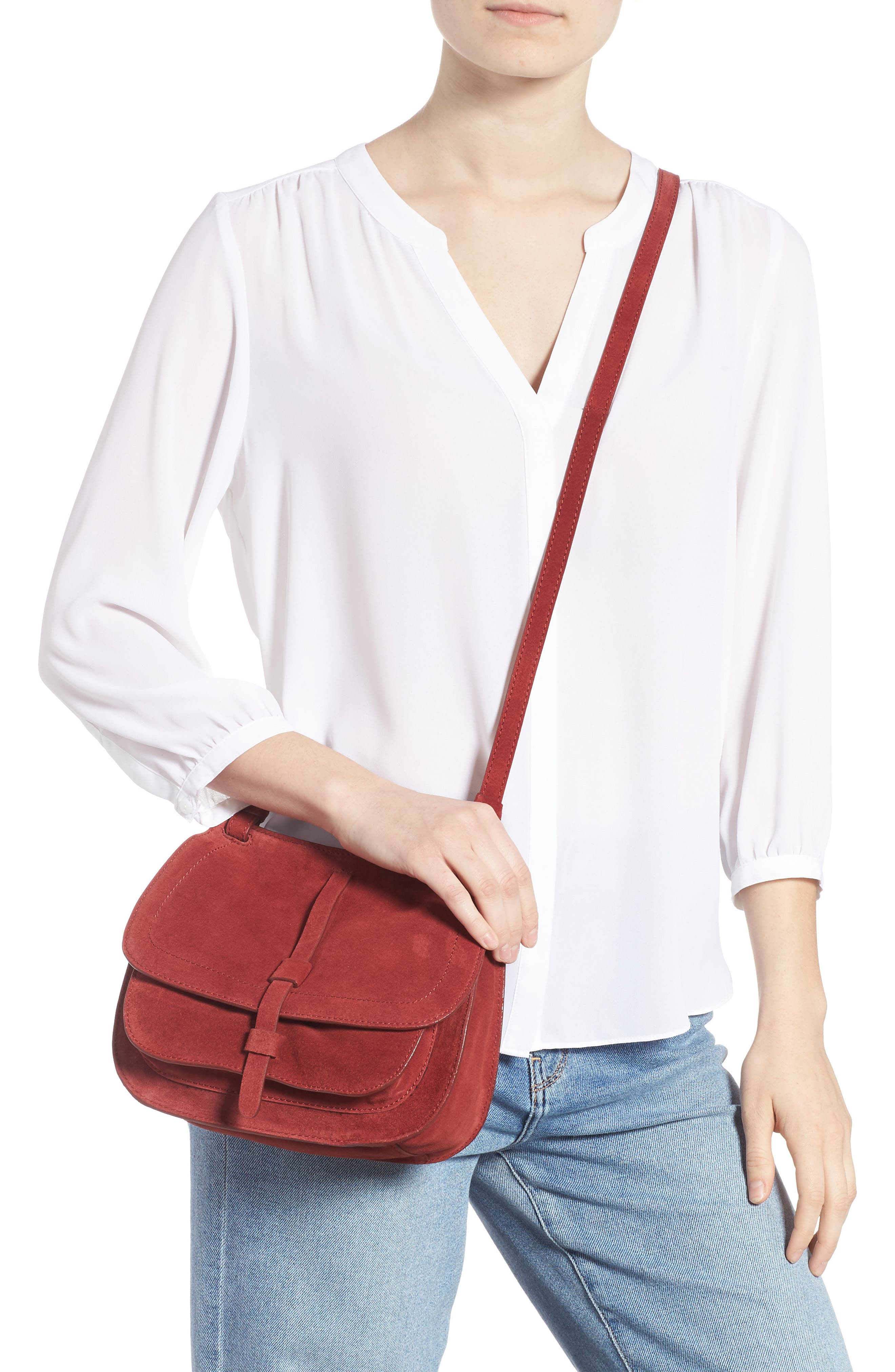 LEITH,                             Suede Crossbody Saddle Bag,                             Alternate thumbnail 2, color,                             805