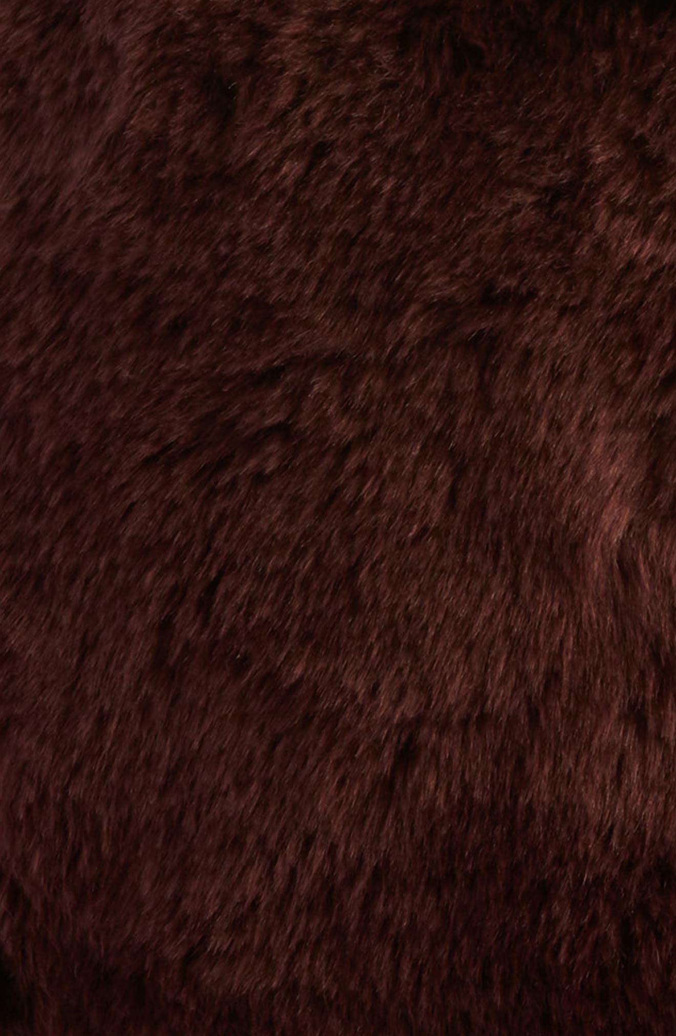 Cuddle Up Faux Fur Drum Pouf,                             Alternate thumbnail 2, color,                             BURGUNDY STEM