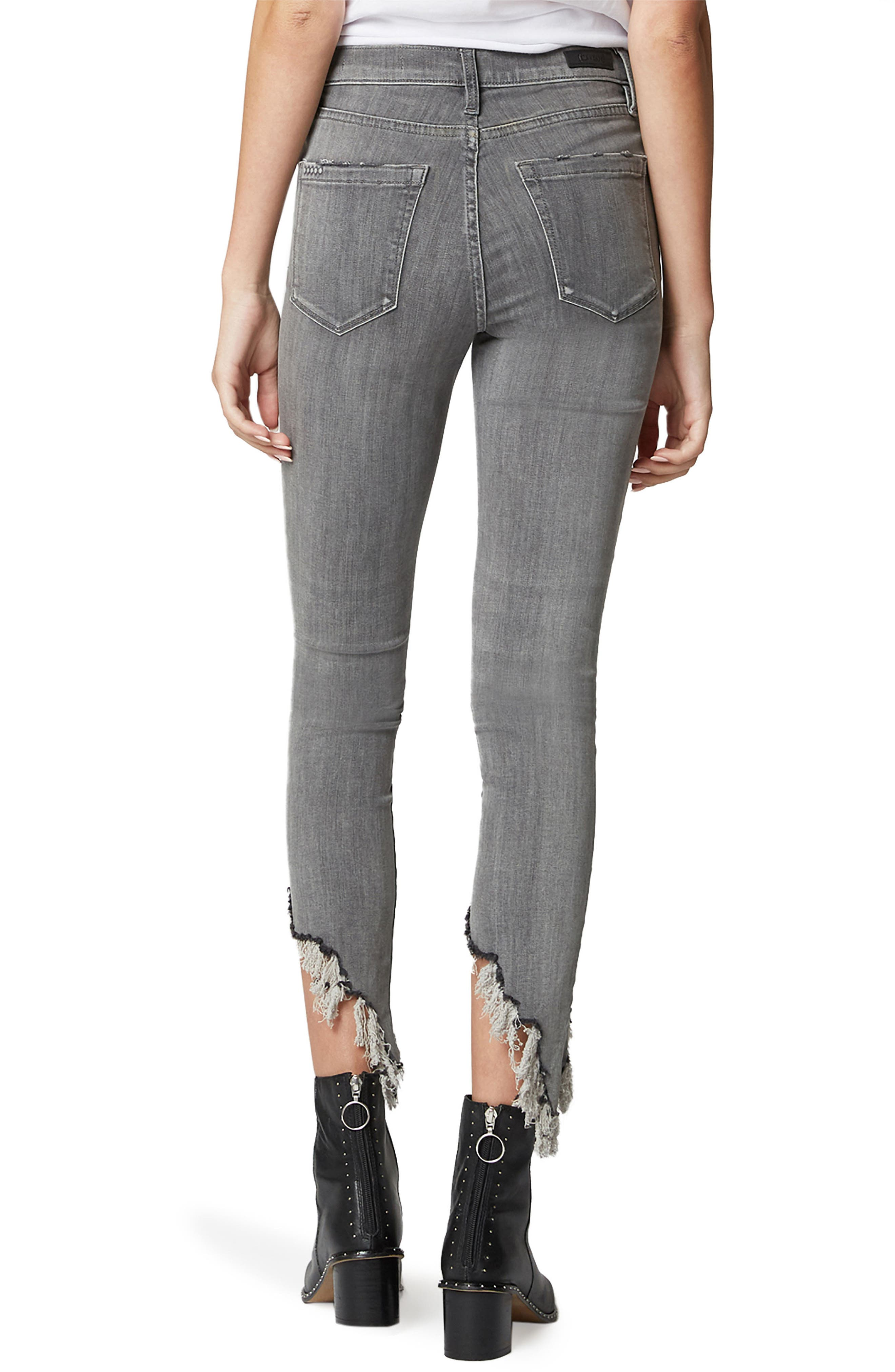 The Bond Asymmetrical Frayed Hem Skinny Jeans,                             Alternate thumbnail 2, color,                             SKY SCRAPER