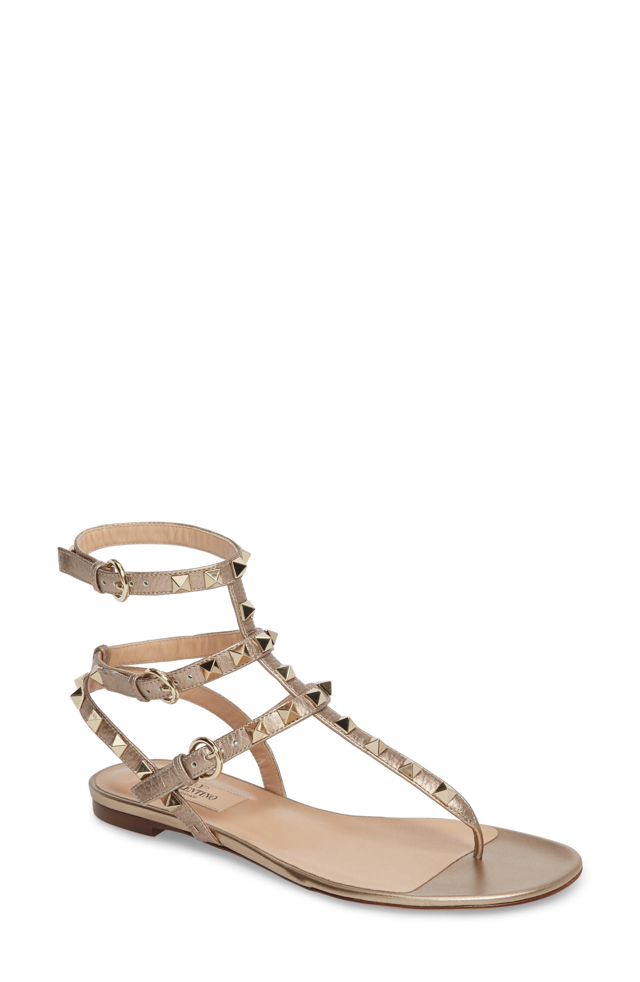 Rockstud Sandal,                         Main,                         color, METALLIC GOLD
