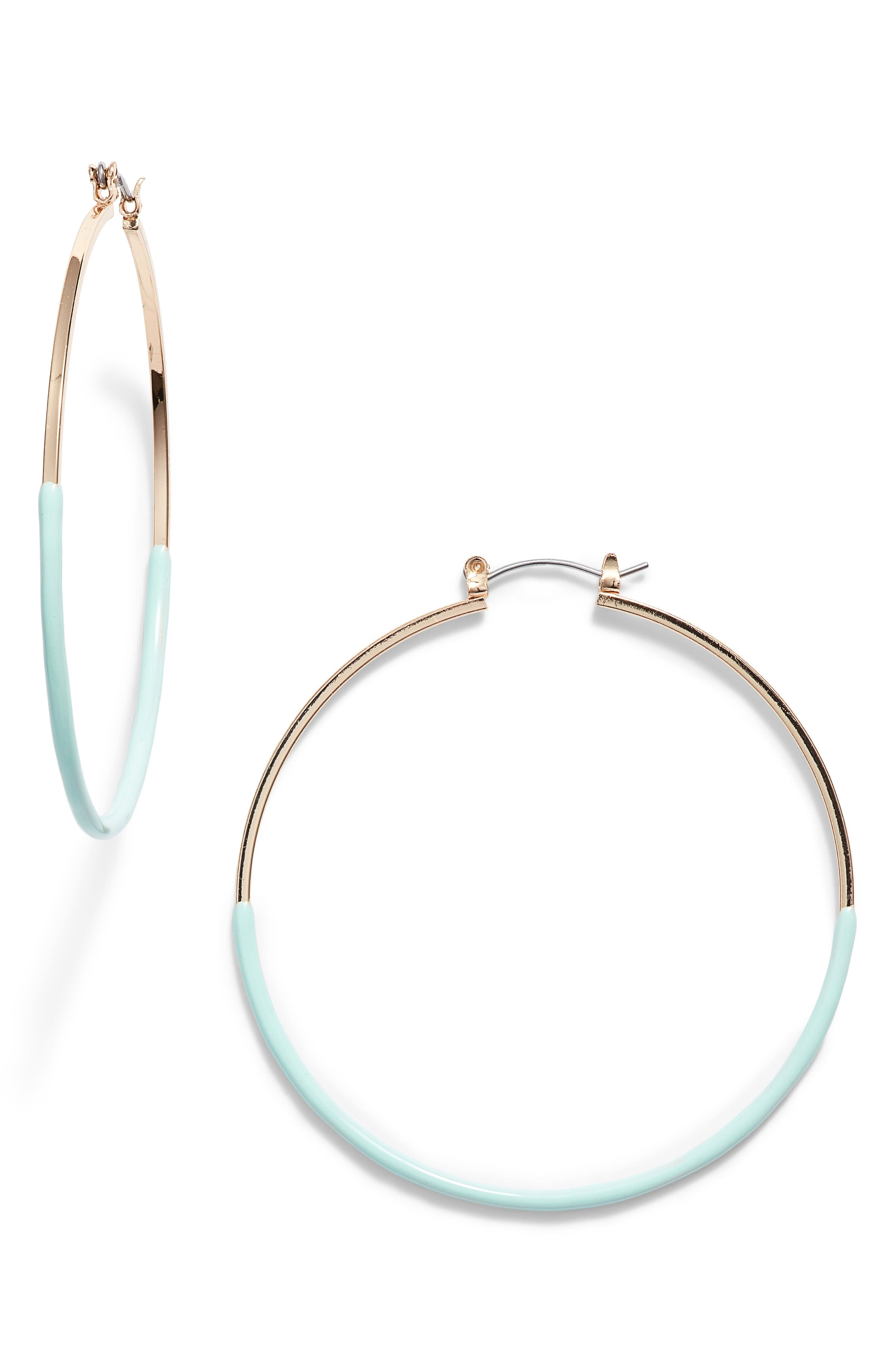 Ariana Hoop Earrings,                             Main thumbnail 1, color,                             GOLD/ TURQUOISE
