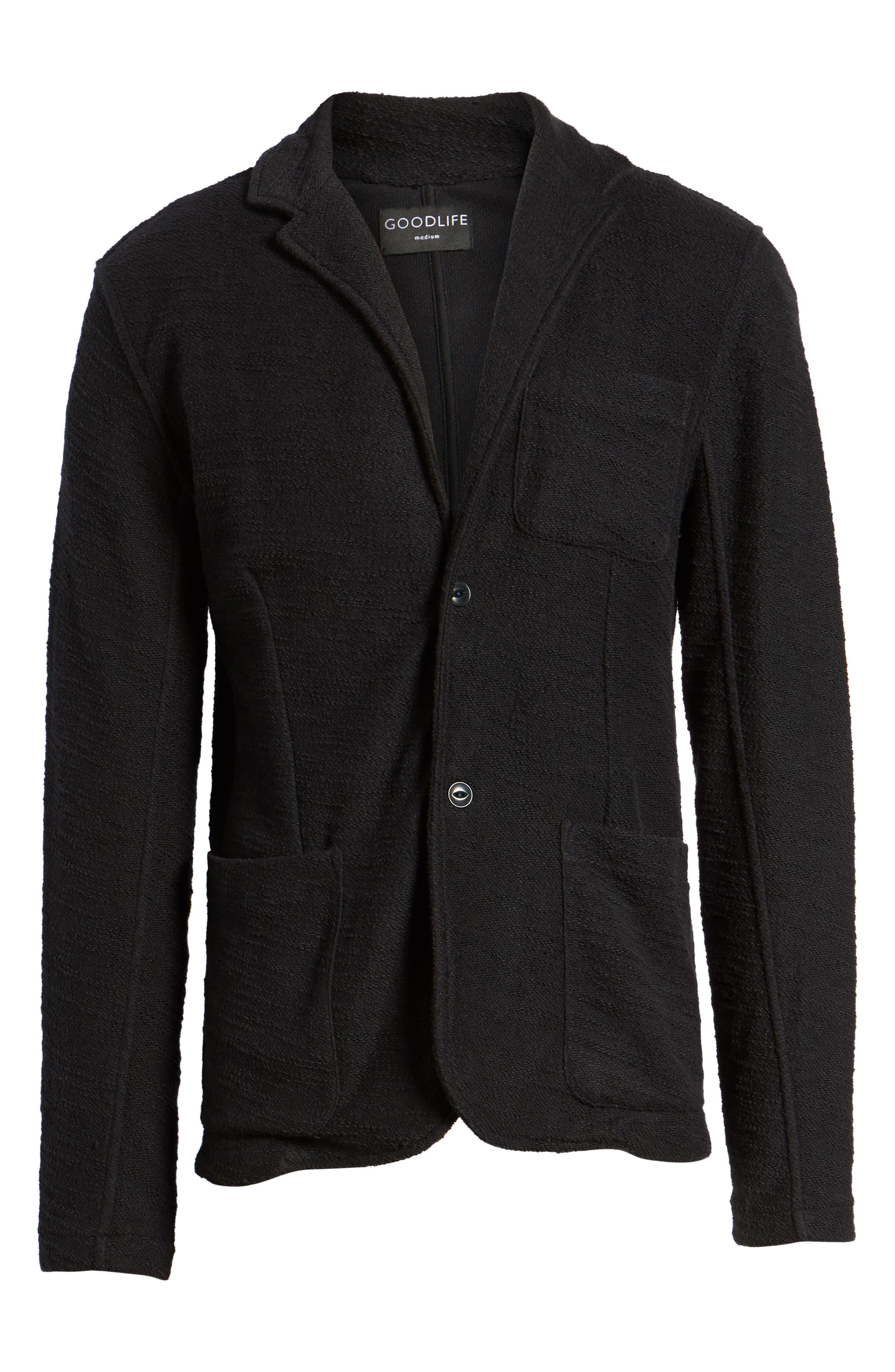 Terry Cloth Cotton Blend Blazer,                             Alternate thumbnail 5, color,                             001