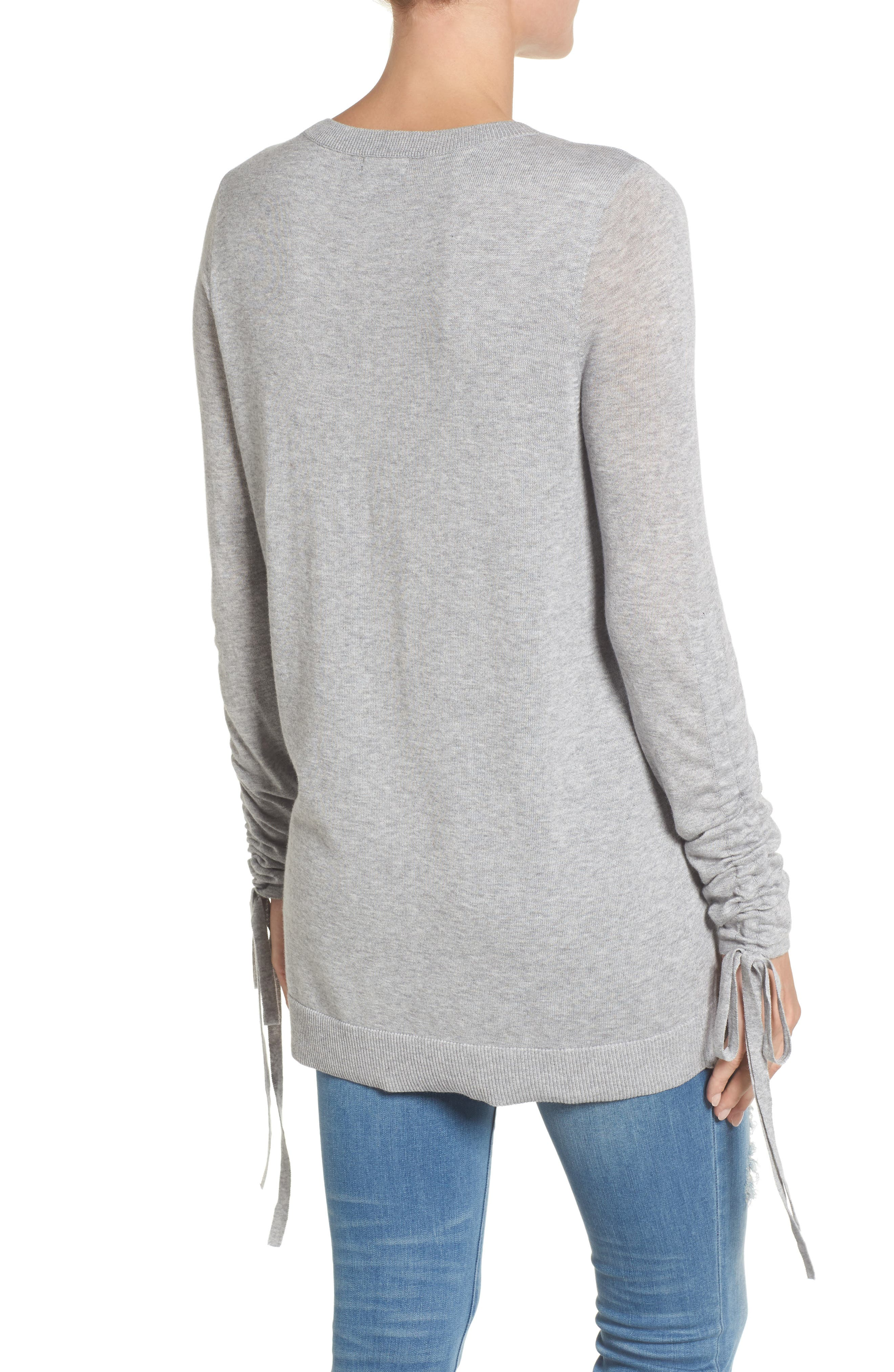 Ruched Sleeve Tunic Sweater,                             Alternate thumbnail 7, color,