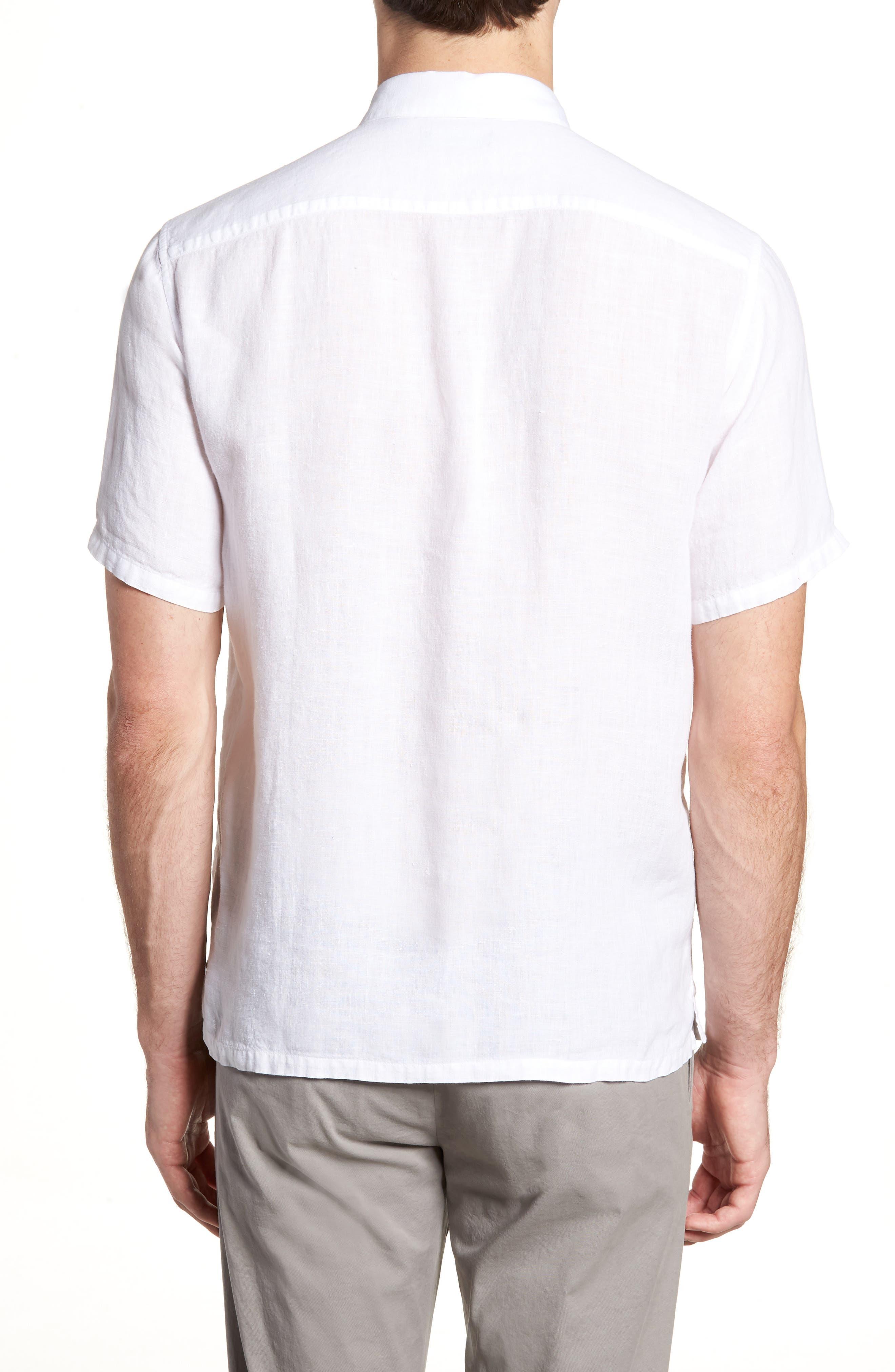 Irving Trim Fit Linen Short Sleeve Sport Shirt,                             Alternate thumbnail 2, color,                             100