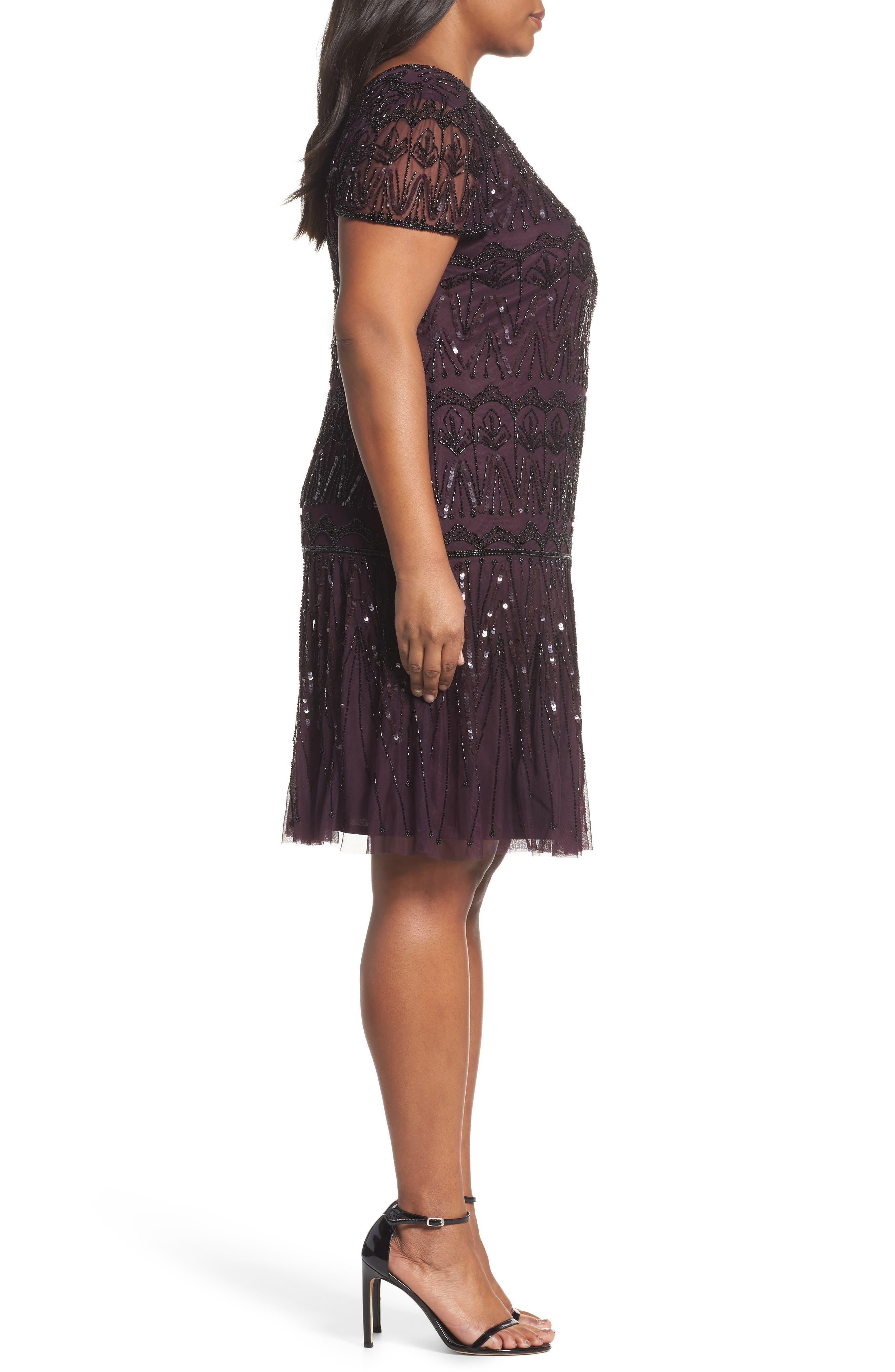 Beaded Flounce Dress,                             Alternate thumbnail 3, color,                             931