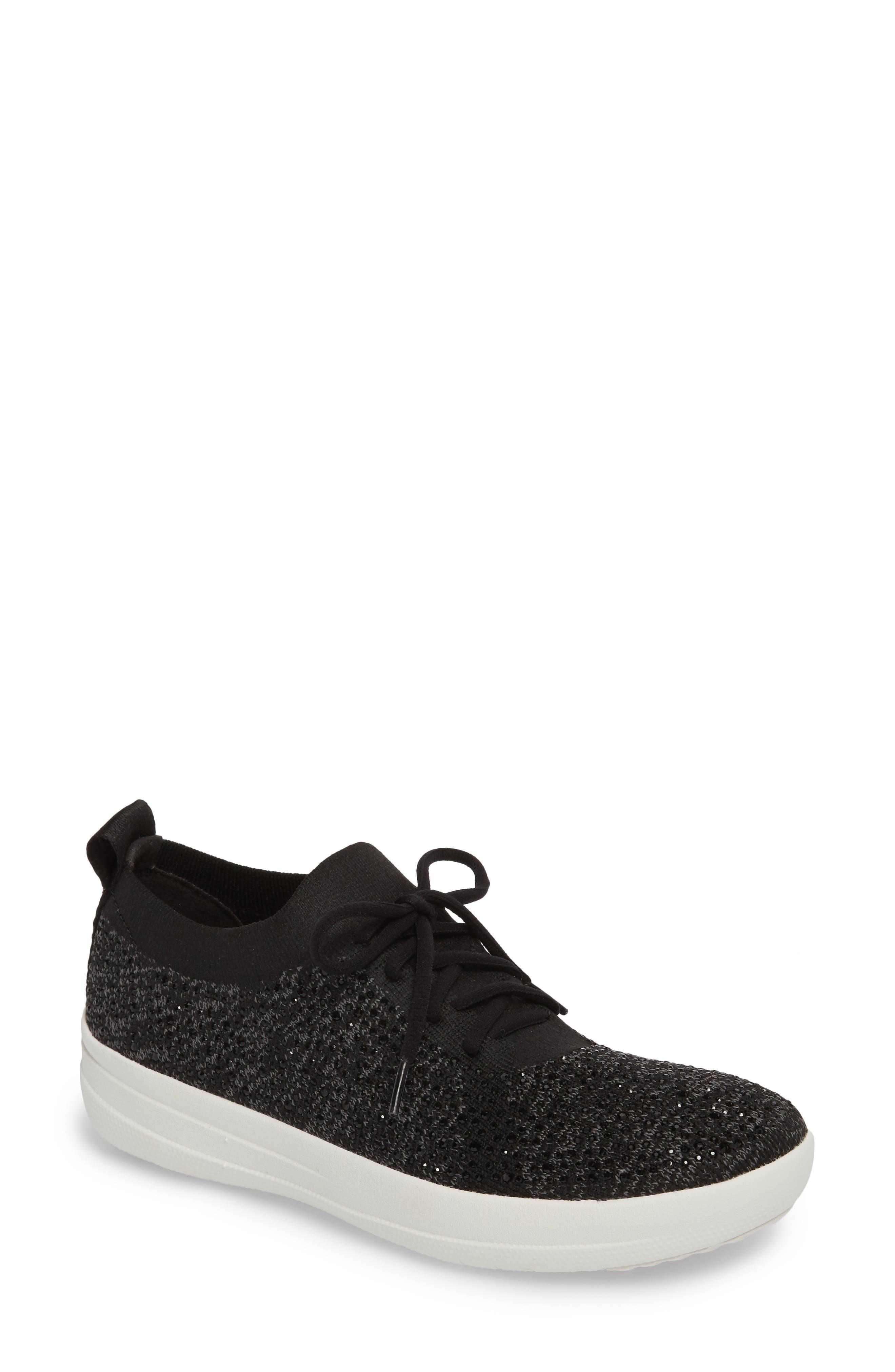 Uberknit<sup>™</sup> F-Sporty Sneaker,                             Main thumbnail 1, color,                             BLACK LEATHER