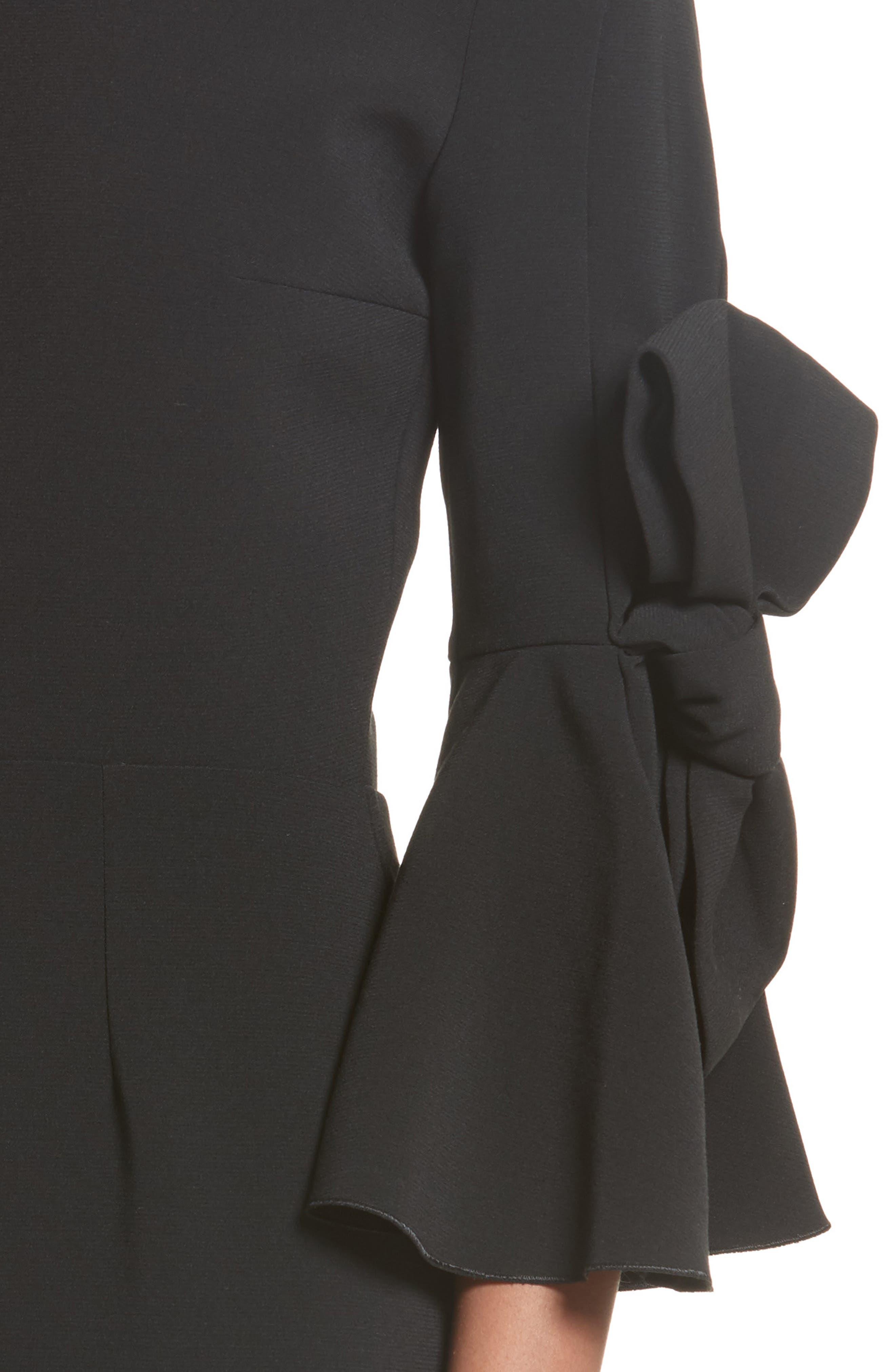 Lavete Stretch Crepe Midi Dress,                             Alternate thumbnail 4, color,                             BLACK