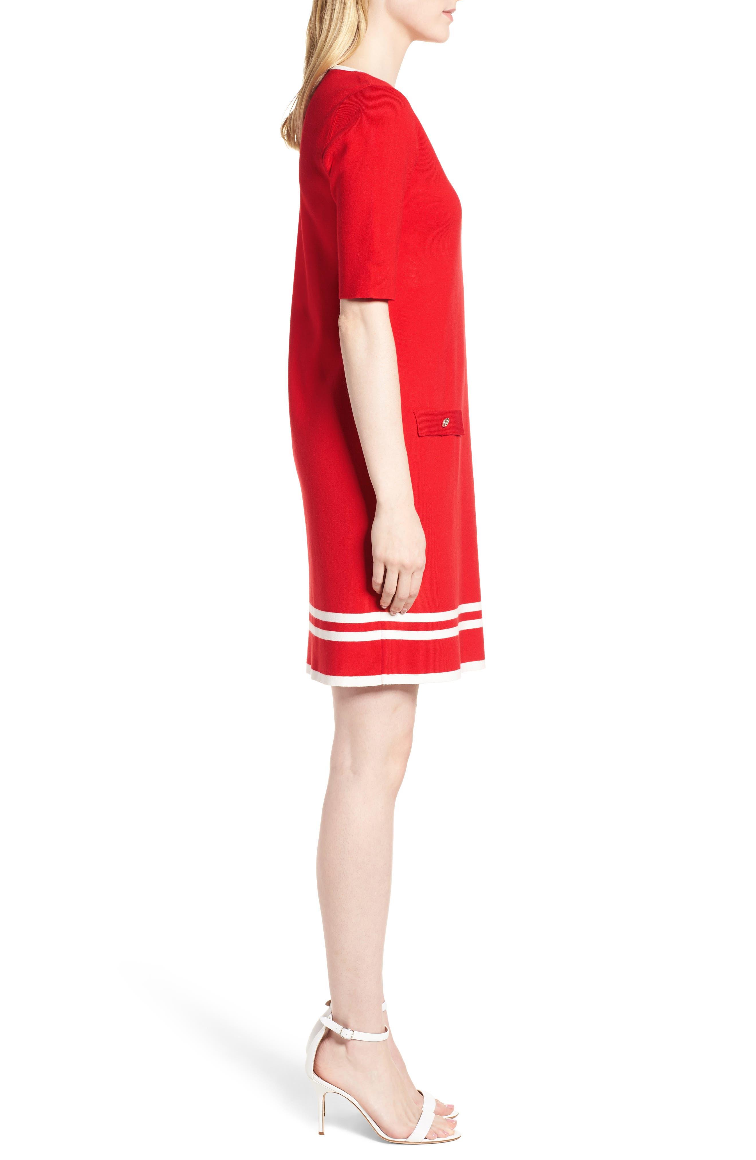 Ann Klein New York Stripe Border Knit Sheath Dress,                             Alternate thumbnail 7, color,