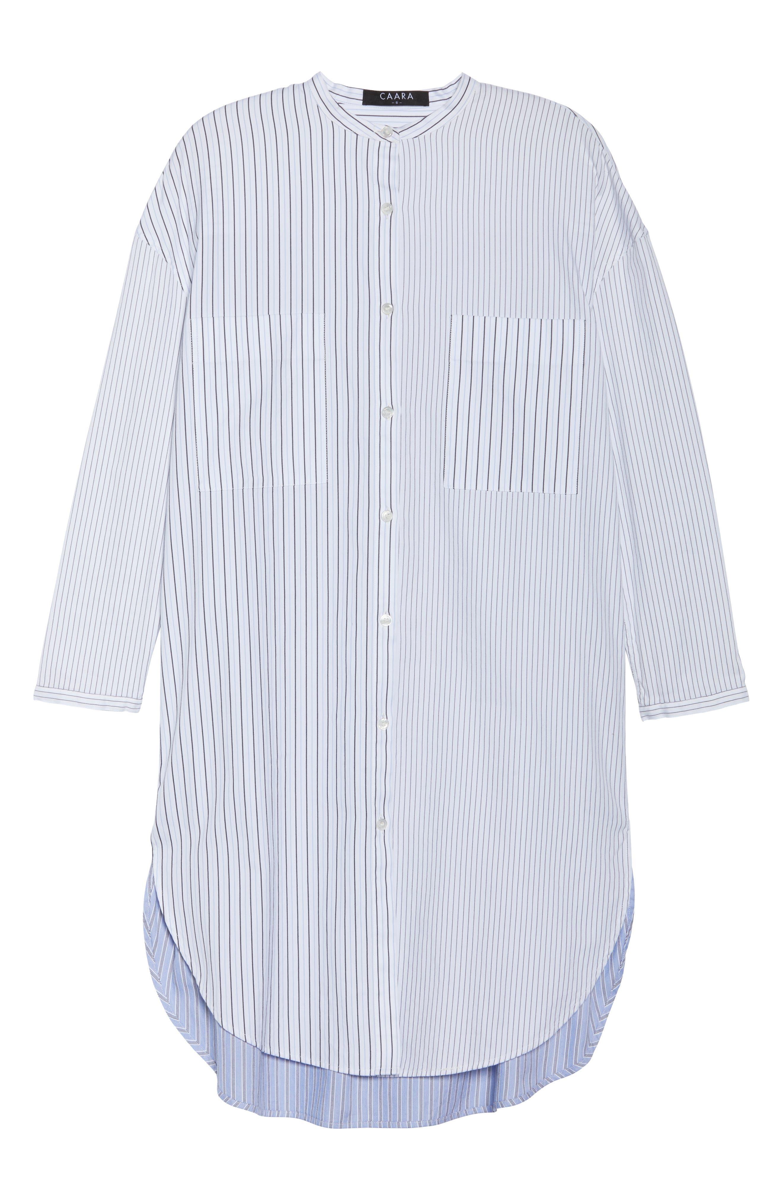 Tia Stripe Shirtdress,                             Alternate thumbnail 6, color,                             160