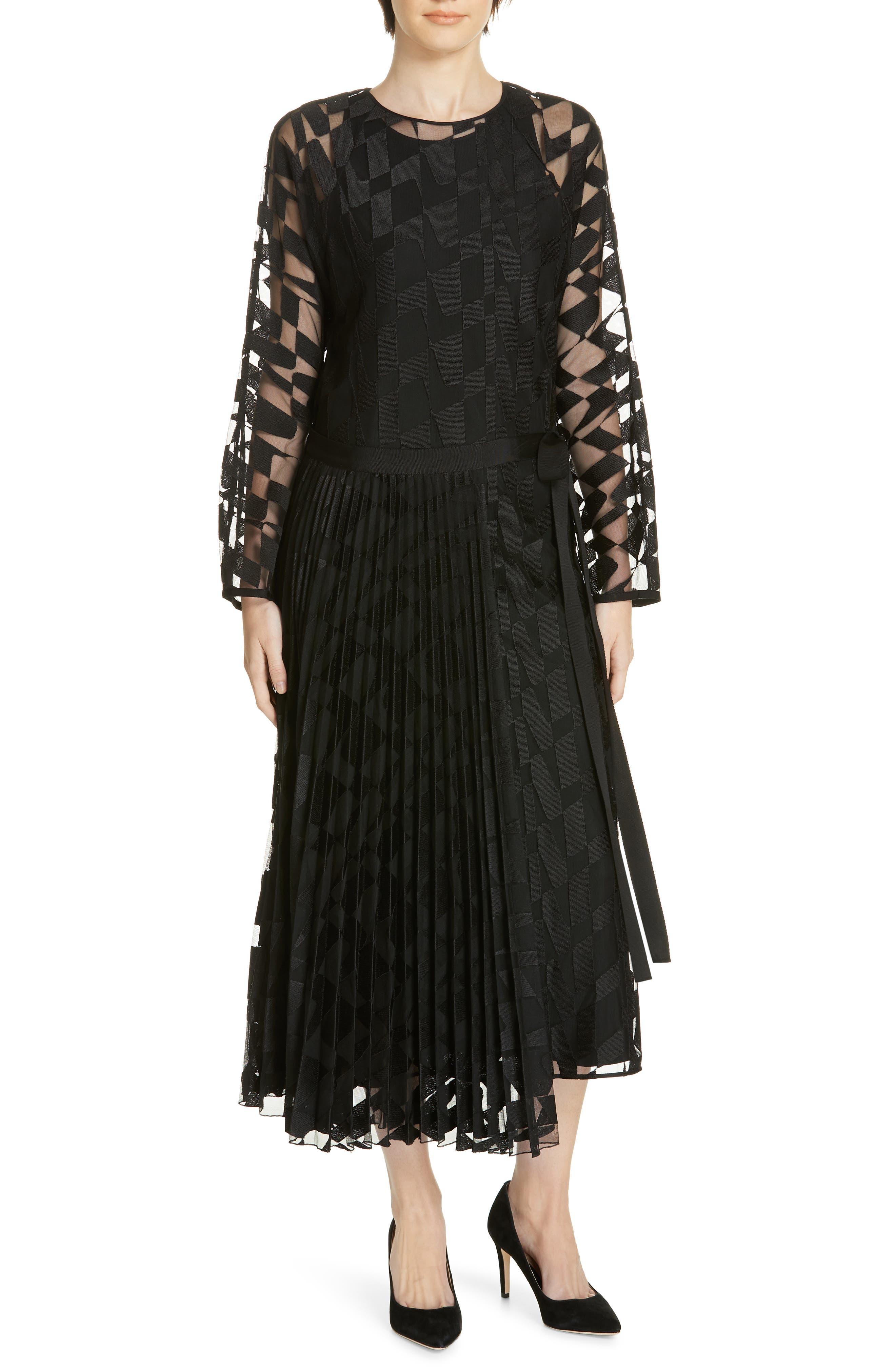Dalace Pleat & Geo Print Midi Dress, Main, color, BLACK