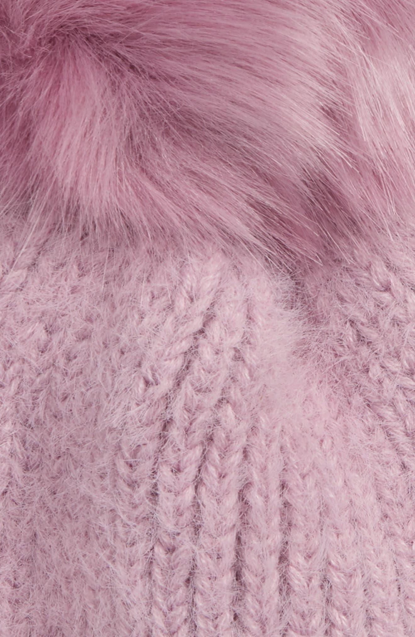 Faux Fur Pompom Beanie,                             Alternate thumbnail 2, color,                             530