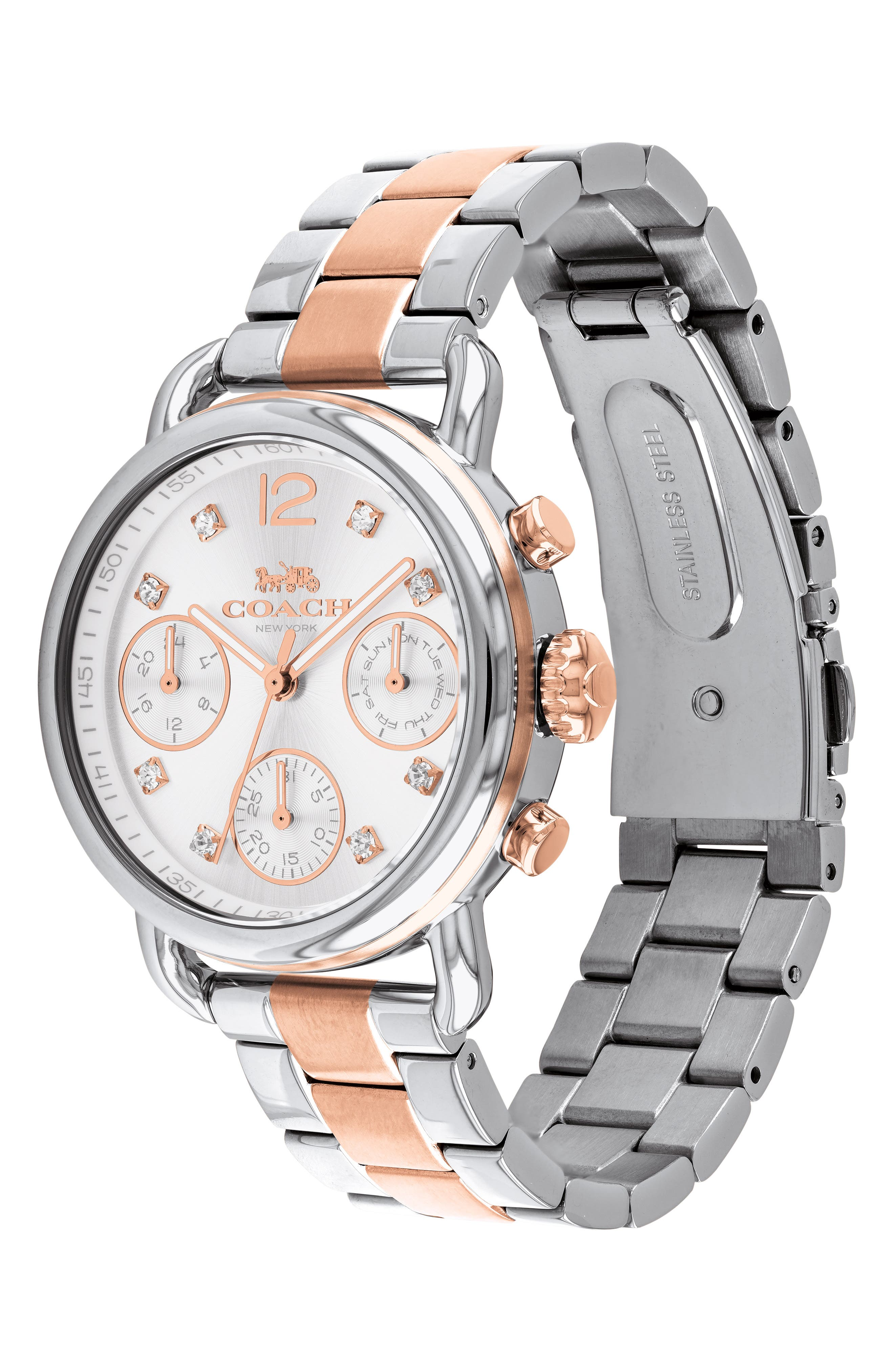 Delancey Chronograph Crystal Accent Bracelet Watch, 36mm,                             Alternate thumbnail 3, color,                             SILVER/ ROSE GOLD