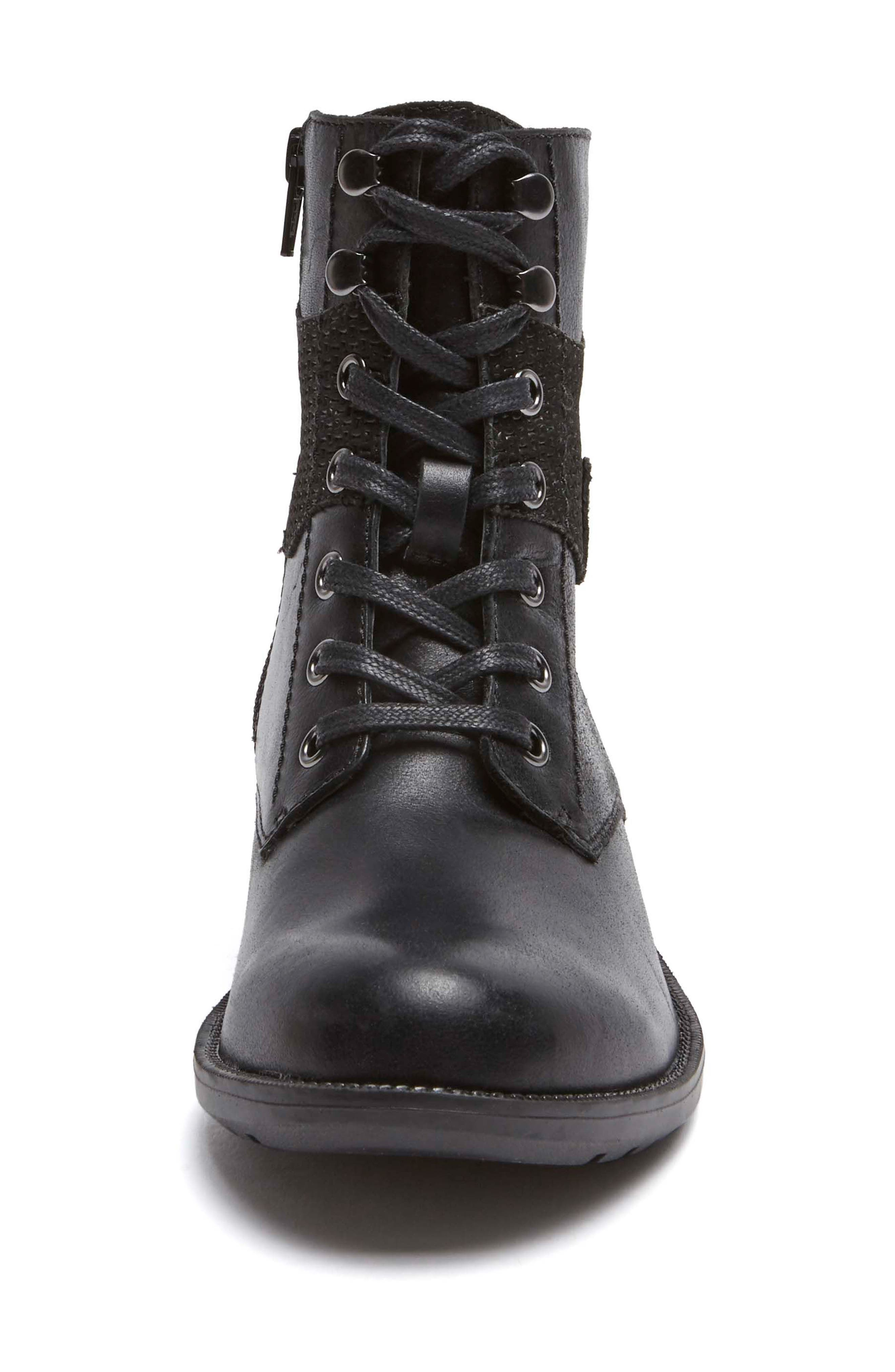 Copley Waterproof Combat Boot,                             Alternate thumbnail 4, color,                             BLACK LEATHER