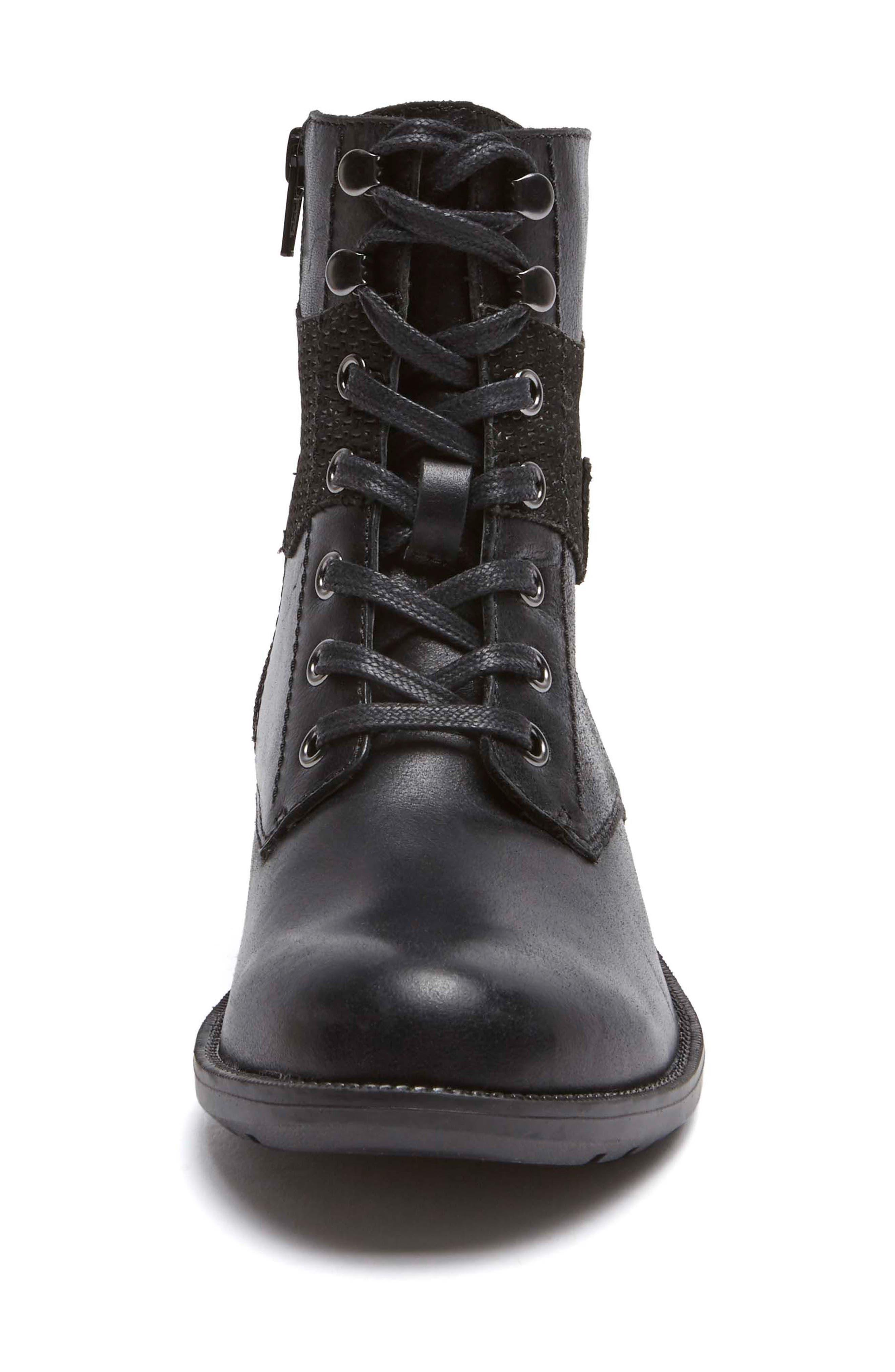 Copley Waterproof Combat Boot,                             Alternate thumbnail 4, color,                             BLACK LEATHER