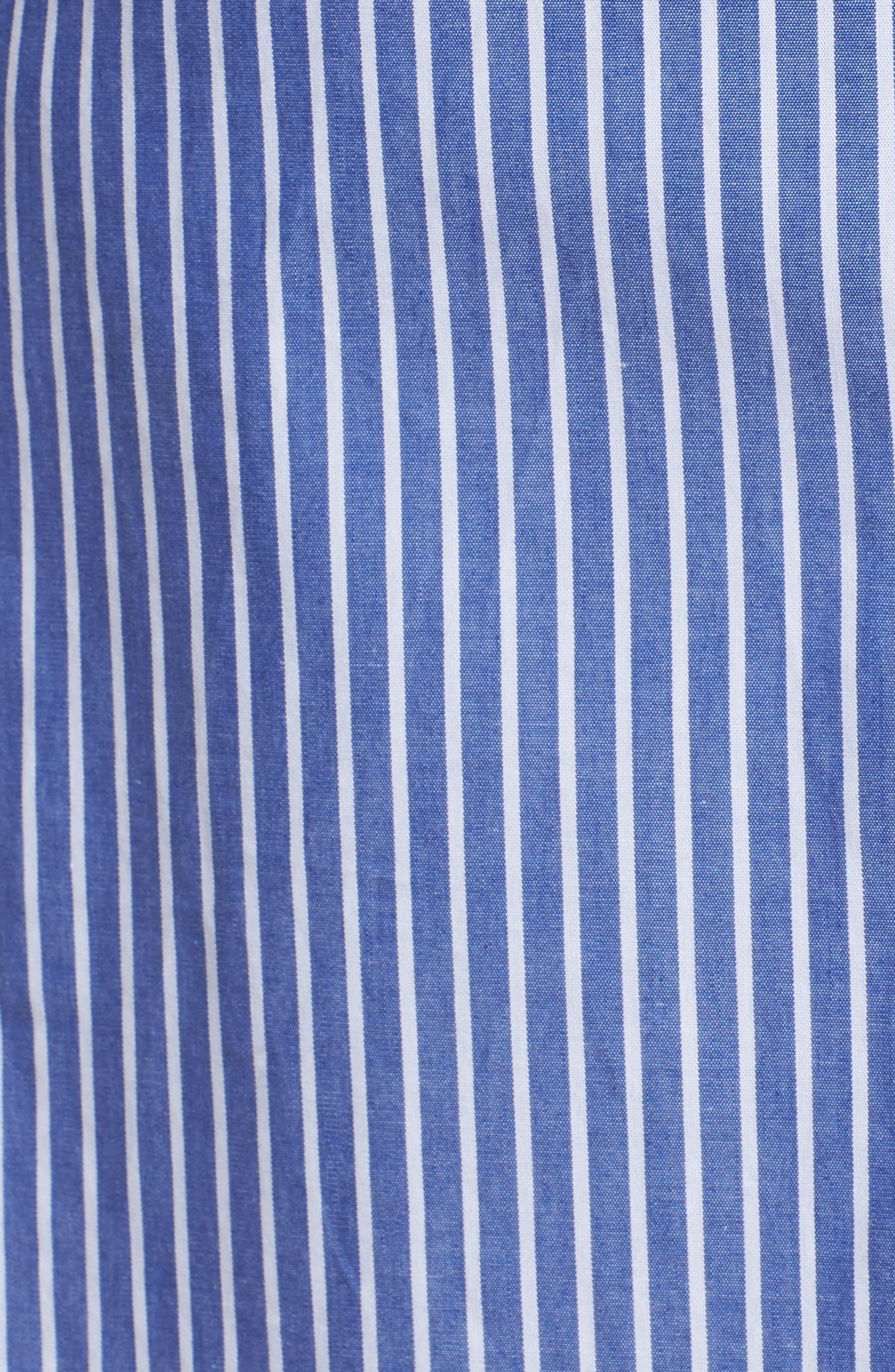 Tie Front Stripe Shirtdress,                             Alternate thumbnail 5, color,                             400