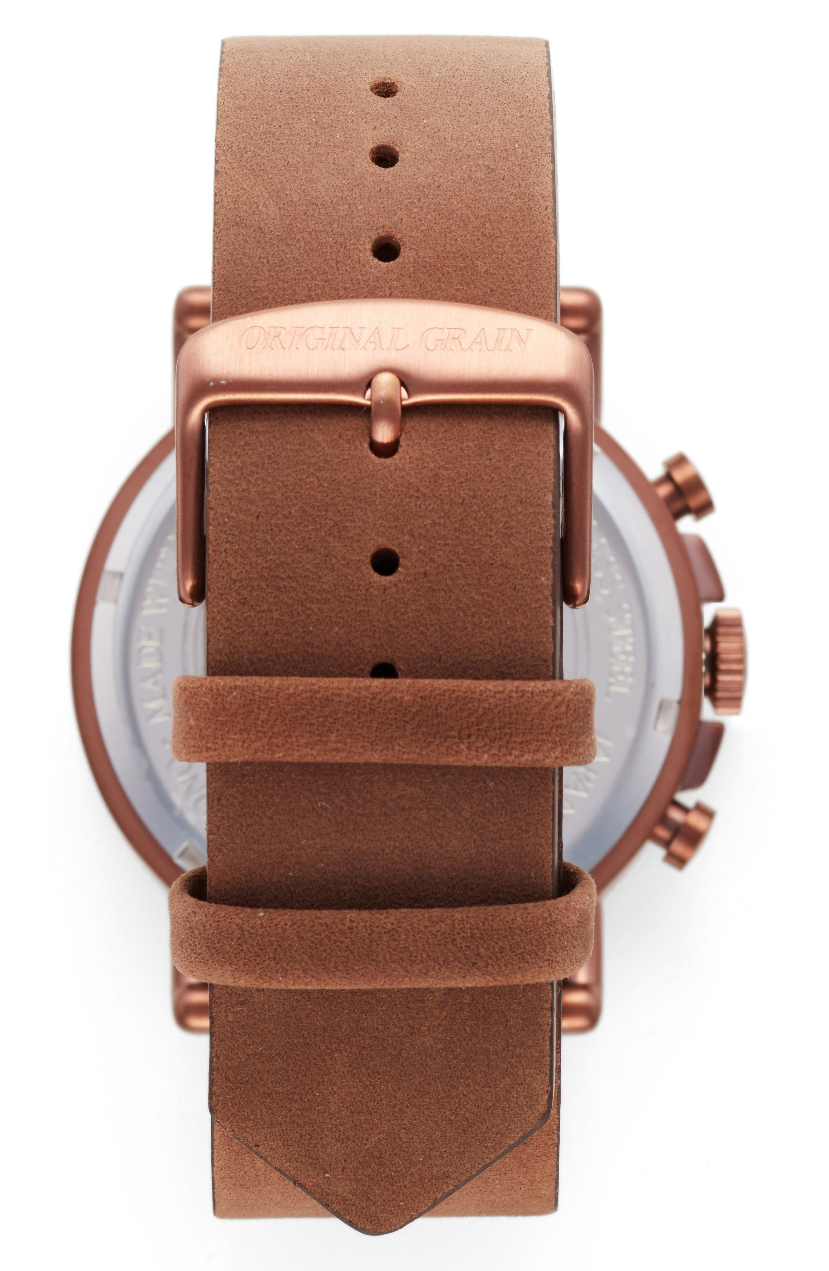 Alterra Chronograph Leather Strap Watch, 44mm,                             Alternate thumbnail 2, color,                             WHISKEY OAK/ BROWN