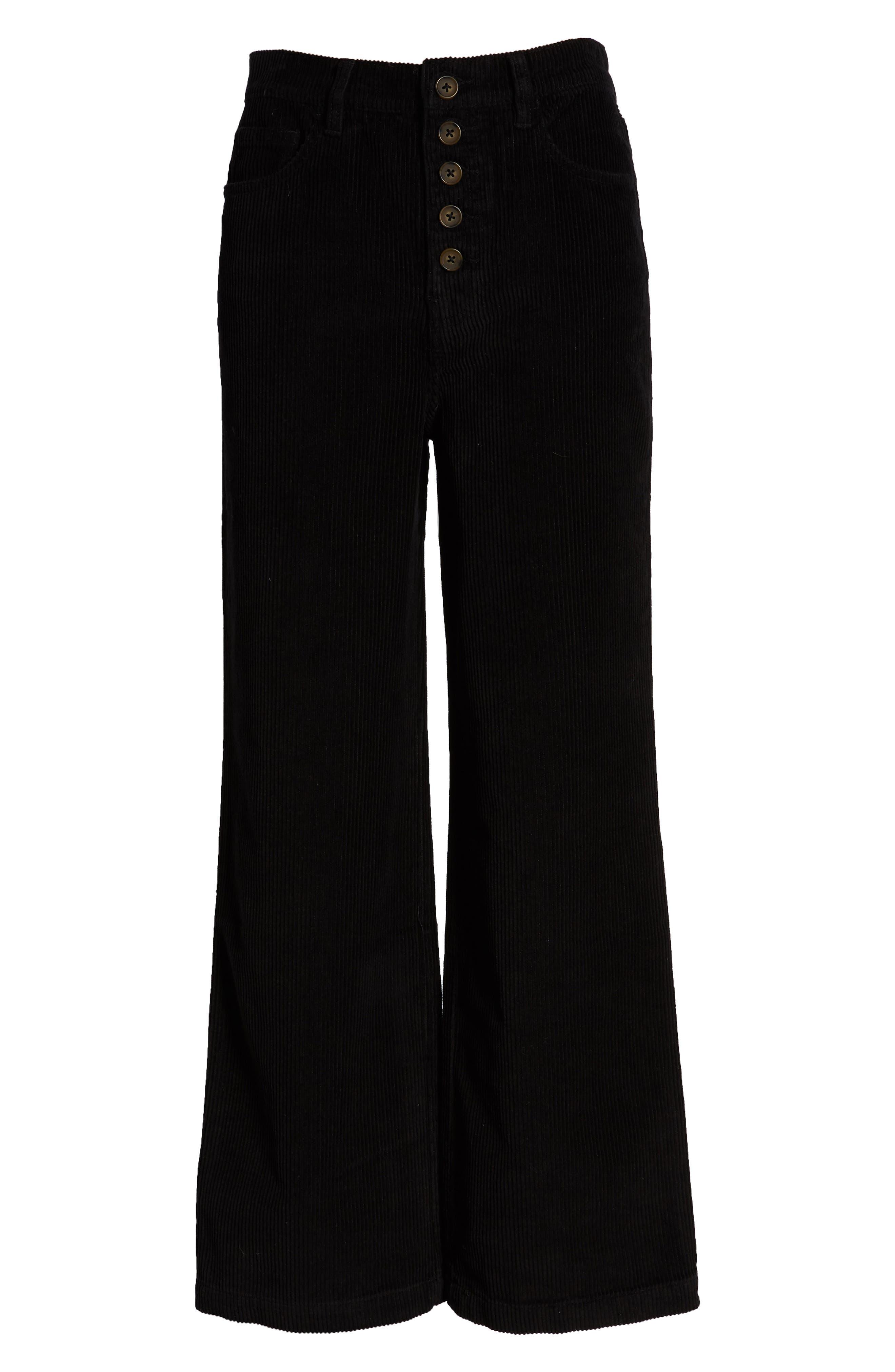 Austin Button Fly Corduroy Pants,                             Alternate thumbnail 6, color,                             BLACK
