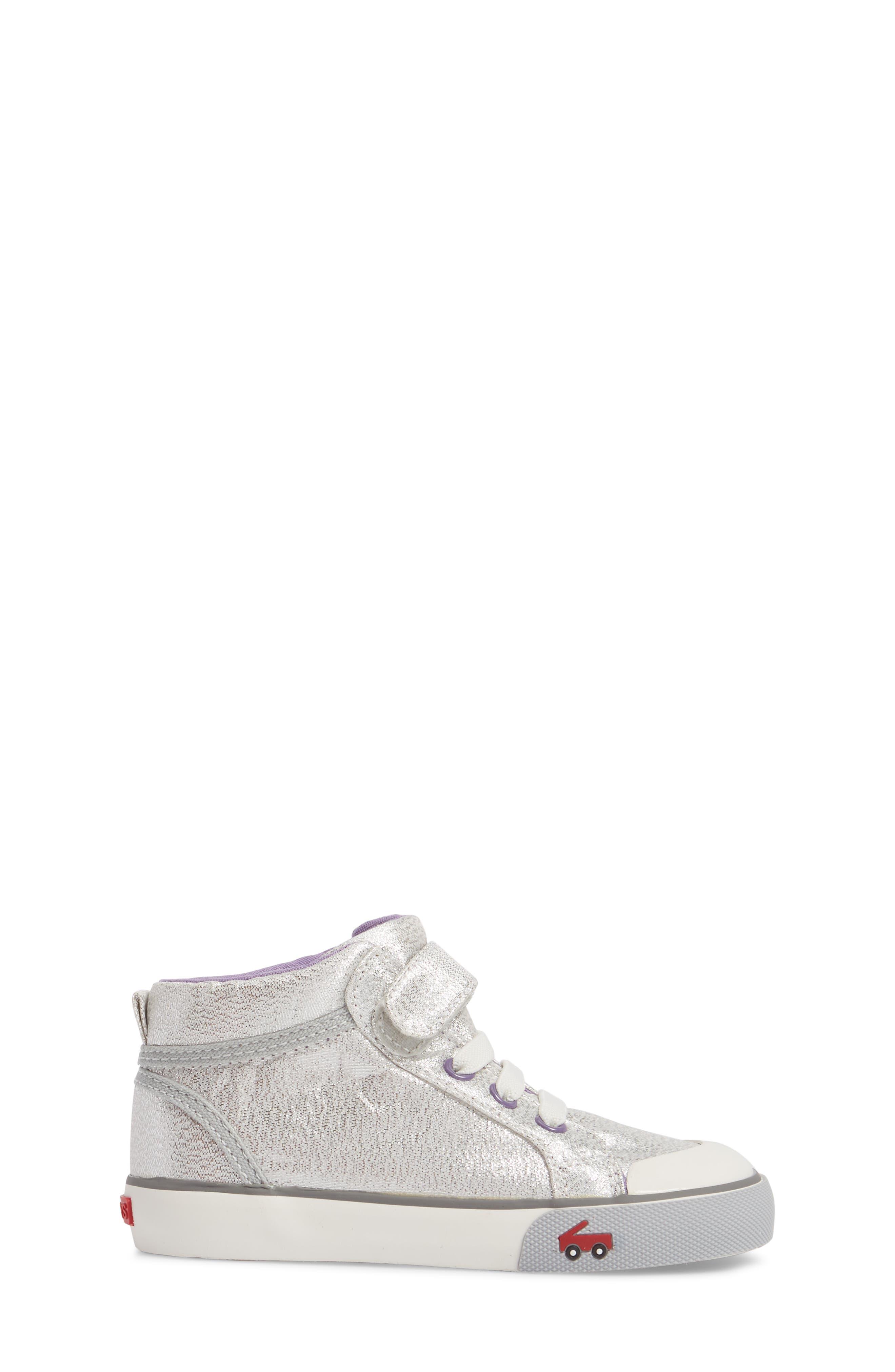 Peyton Metallic Mid Top Sneaker,                             Alternate thumbnail 3, color,                             SILVER GLITTER