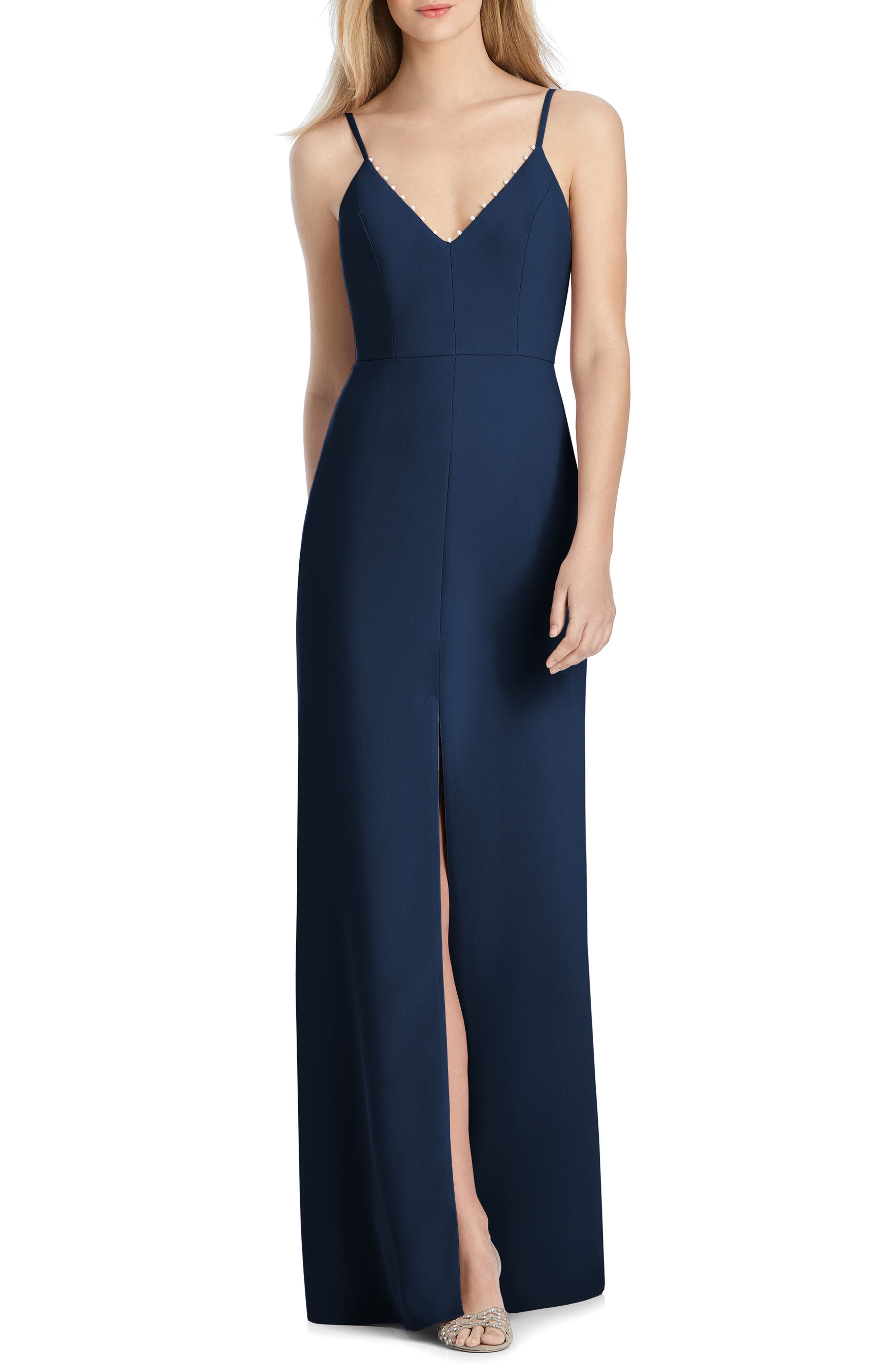 V-Neck Crepe Mermaid Gown,                             Main thumbnail 1, color,                             MIDNIGHT