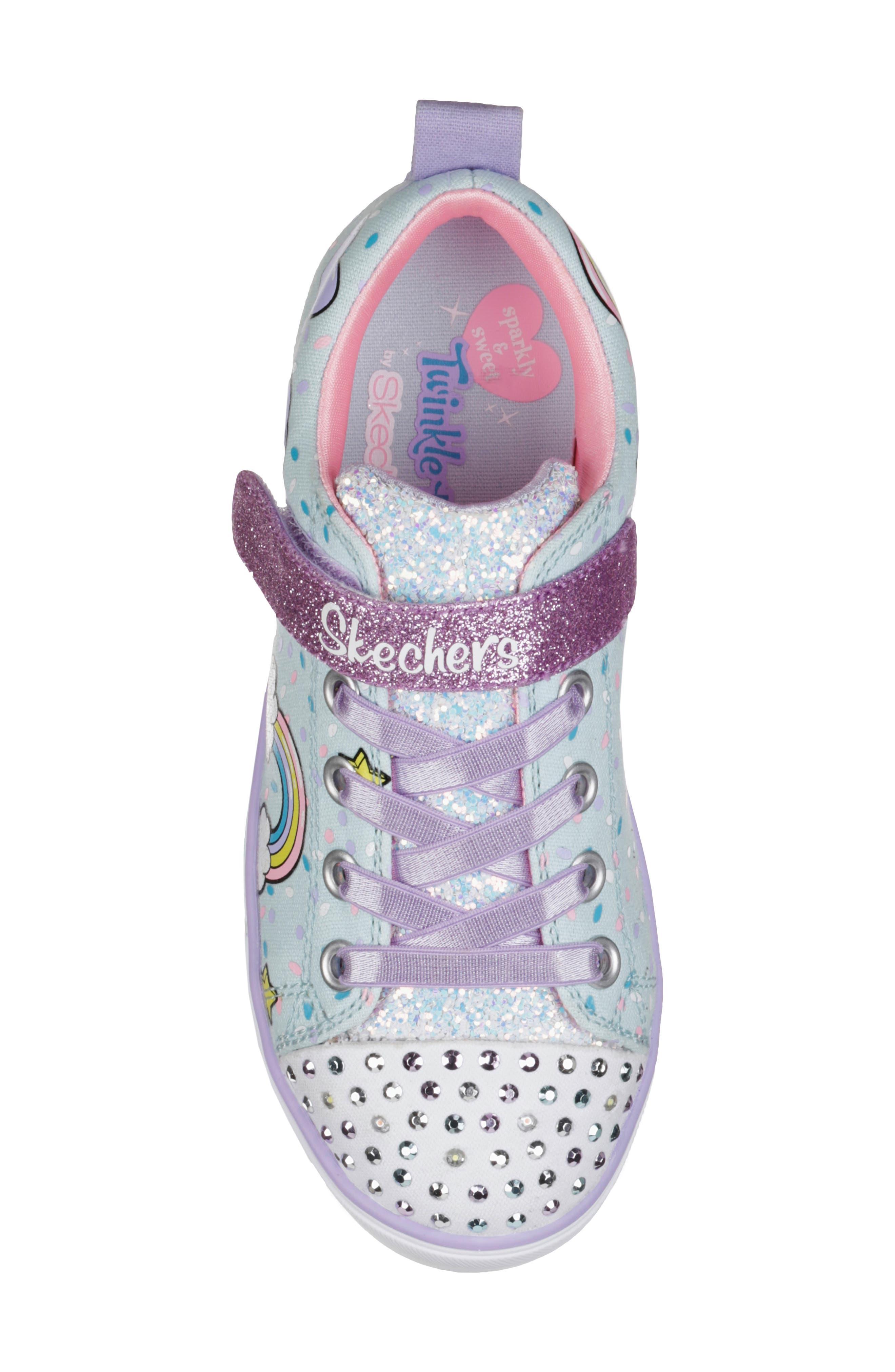 Twinkle Toes Unicorn Light-Up Sneaker,                             Alternate thumbnail 5, color,                             LIGHT BLUE/ MULTI