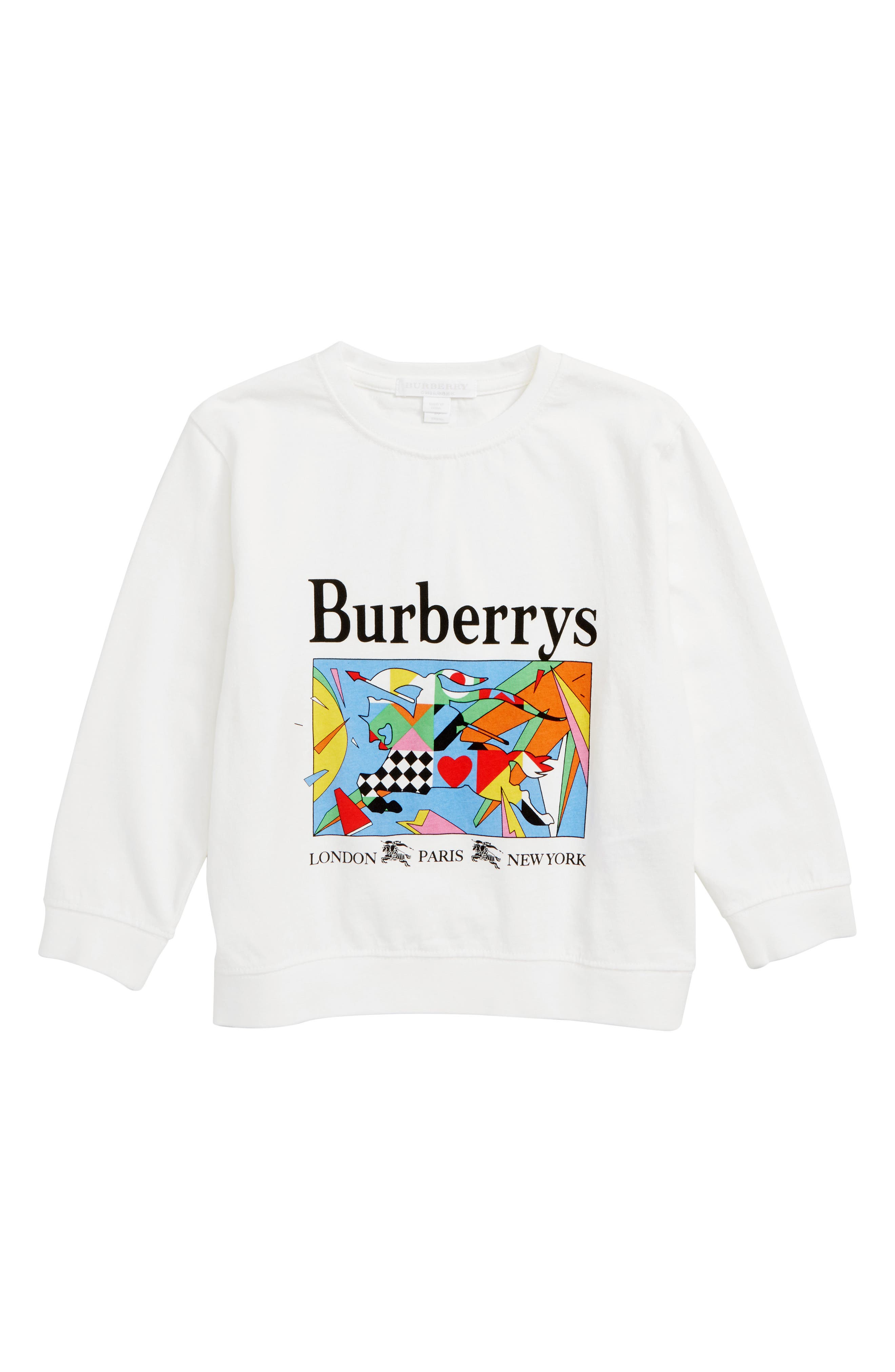 Patchwork Graphic Long Sleeve Tee,                         Main,                         color, WHITE