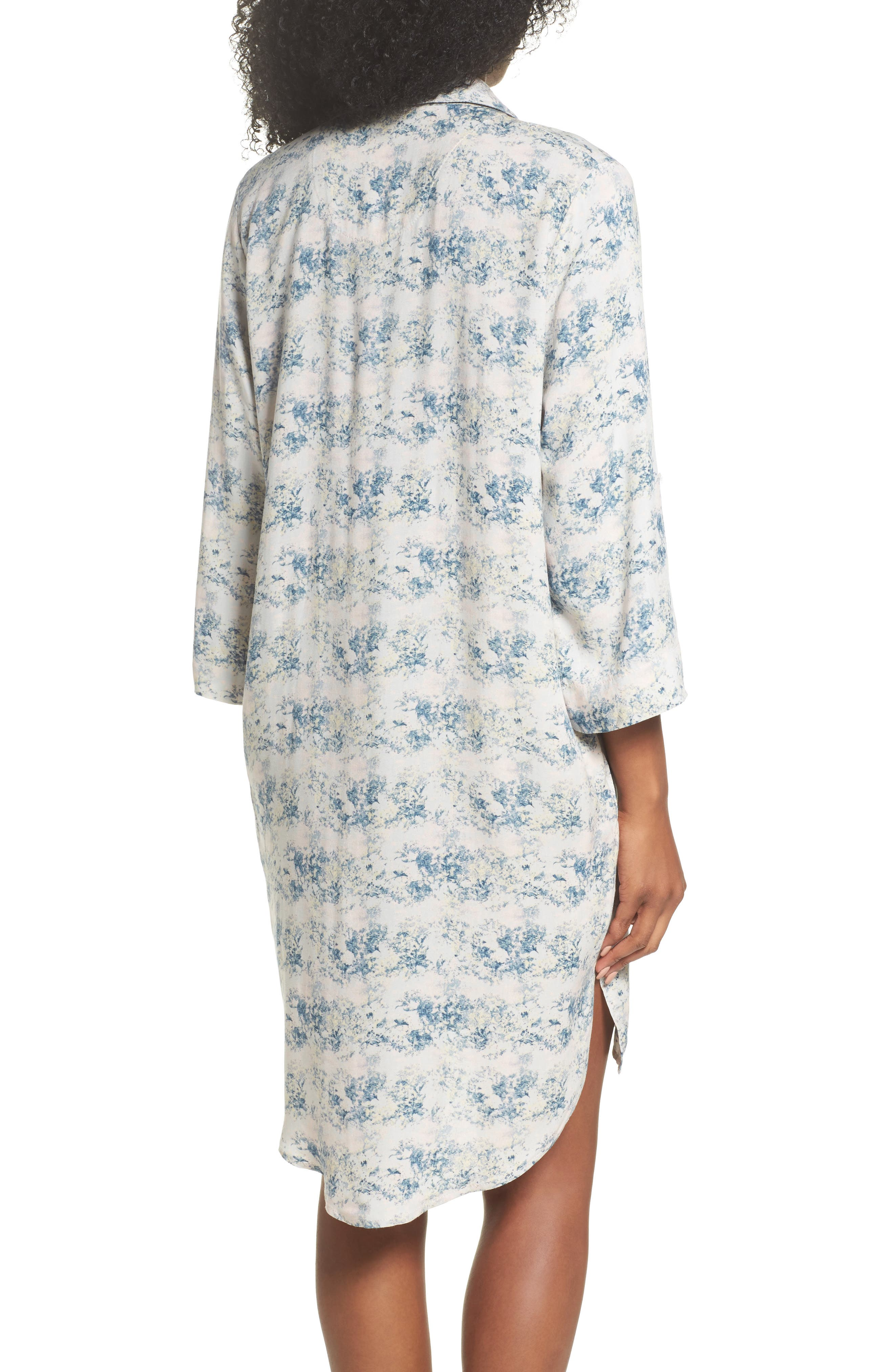Floral Print Sleep Shirt,                             Alternate thumbnail 2, color,                             403
