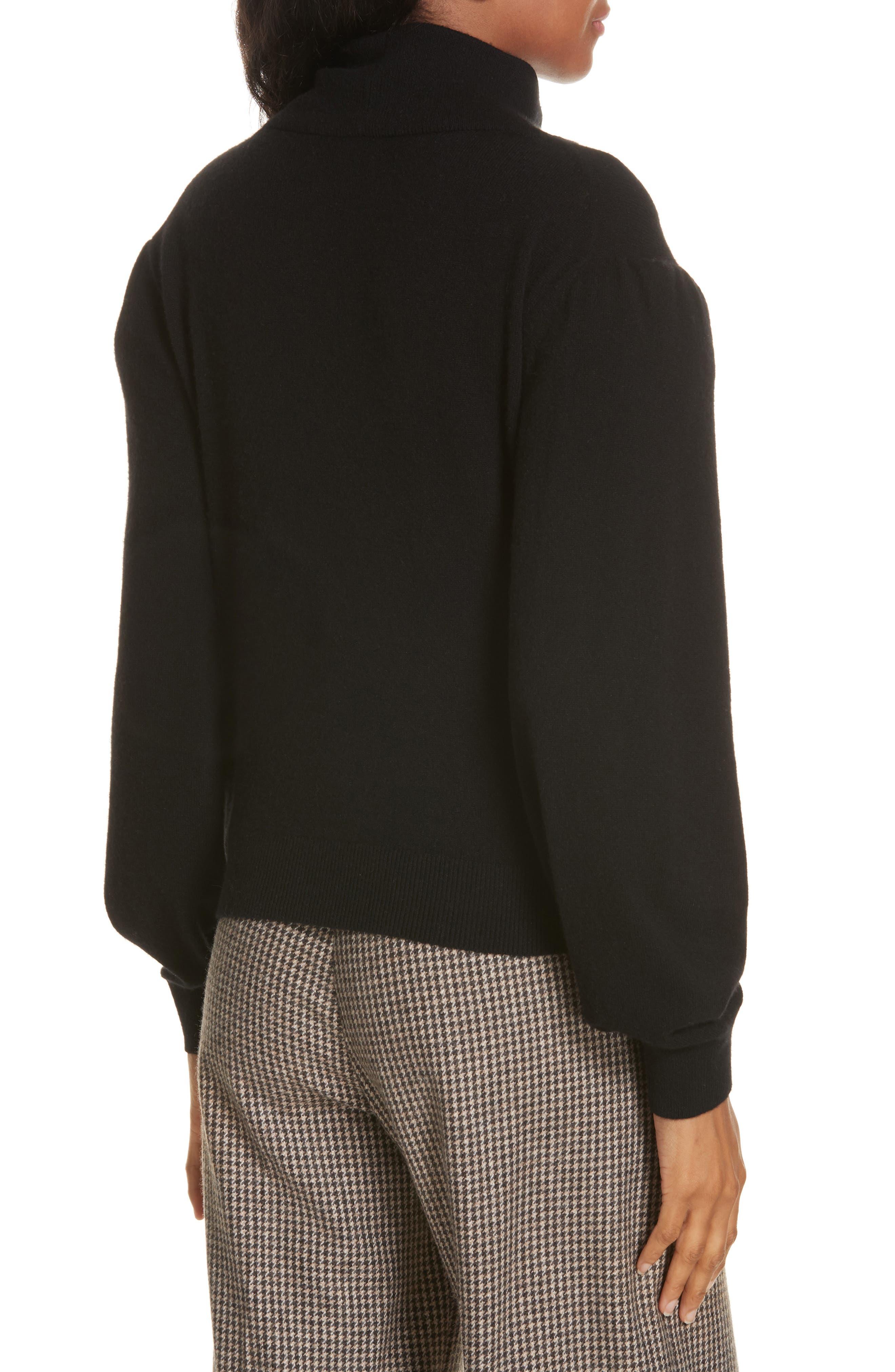 Lilla Puff Sleeve Cashmere Sweater,                             Alternate thumbnail 2, color,                             BLACK