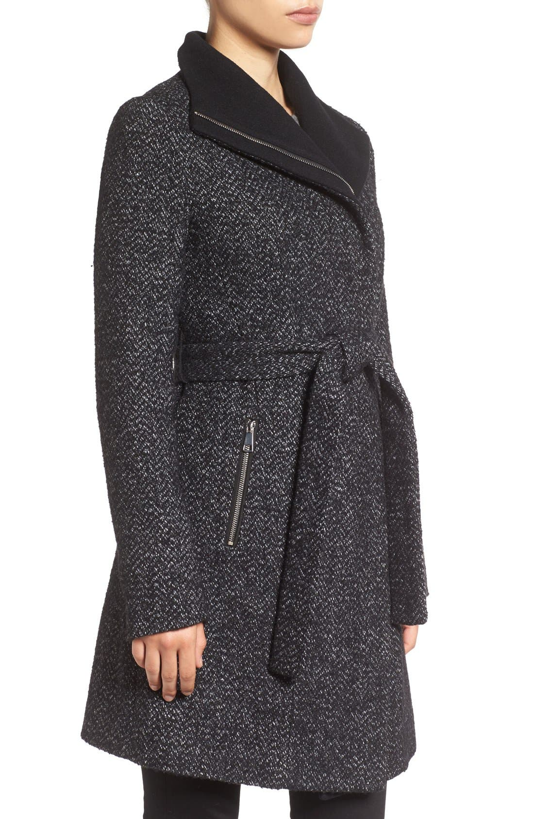 'Eva' Belted Tweed Jacket,                             Alternate thumbnail 3, color,                             008