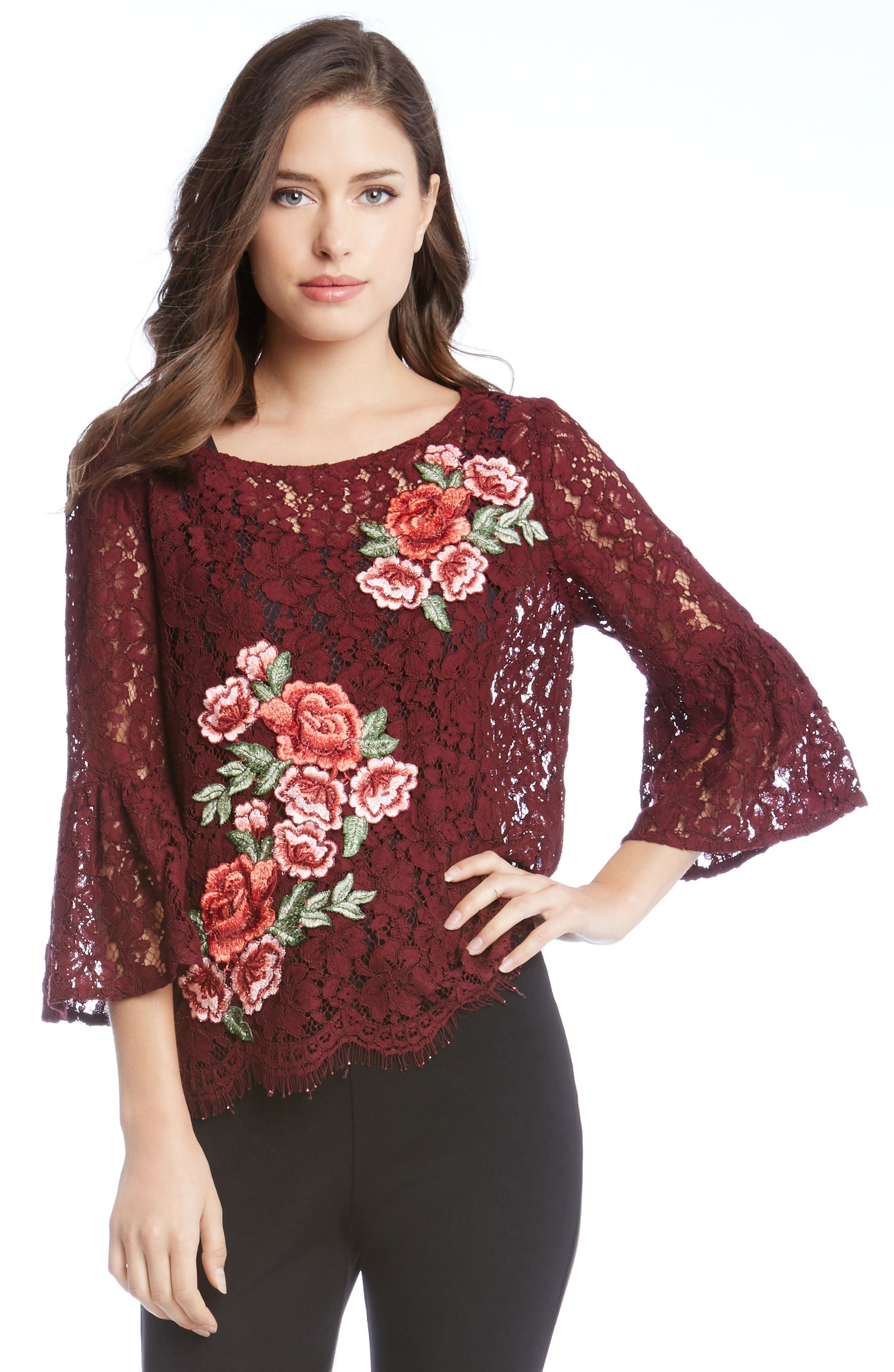Lace Embellished Bell Sleeve Top,                             Alternate thumbnail 6, color,