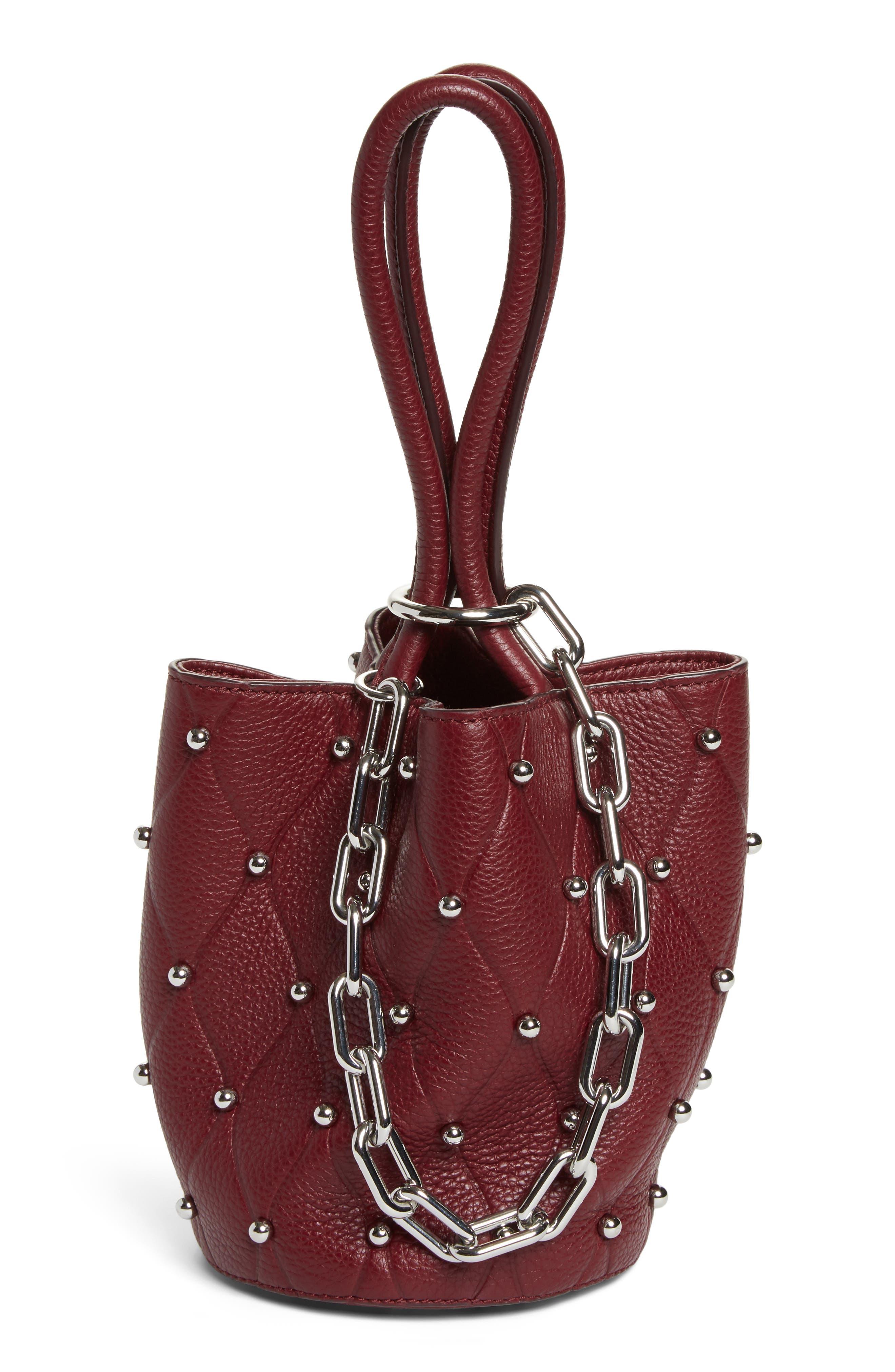 Mini Roxy Studded Leather Bucket Bag,                         Main,                         color,