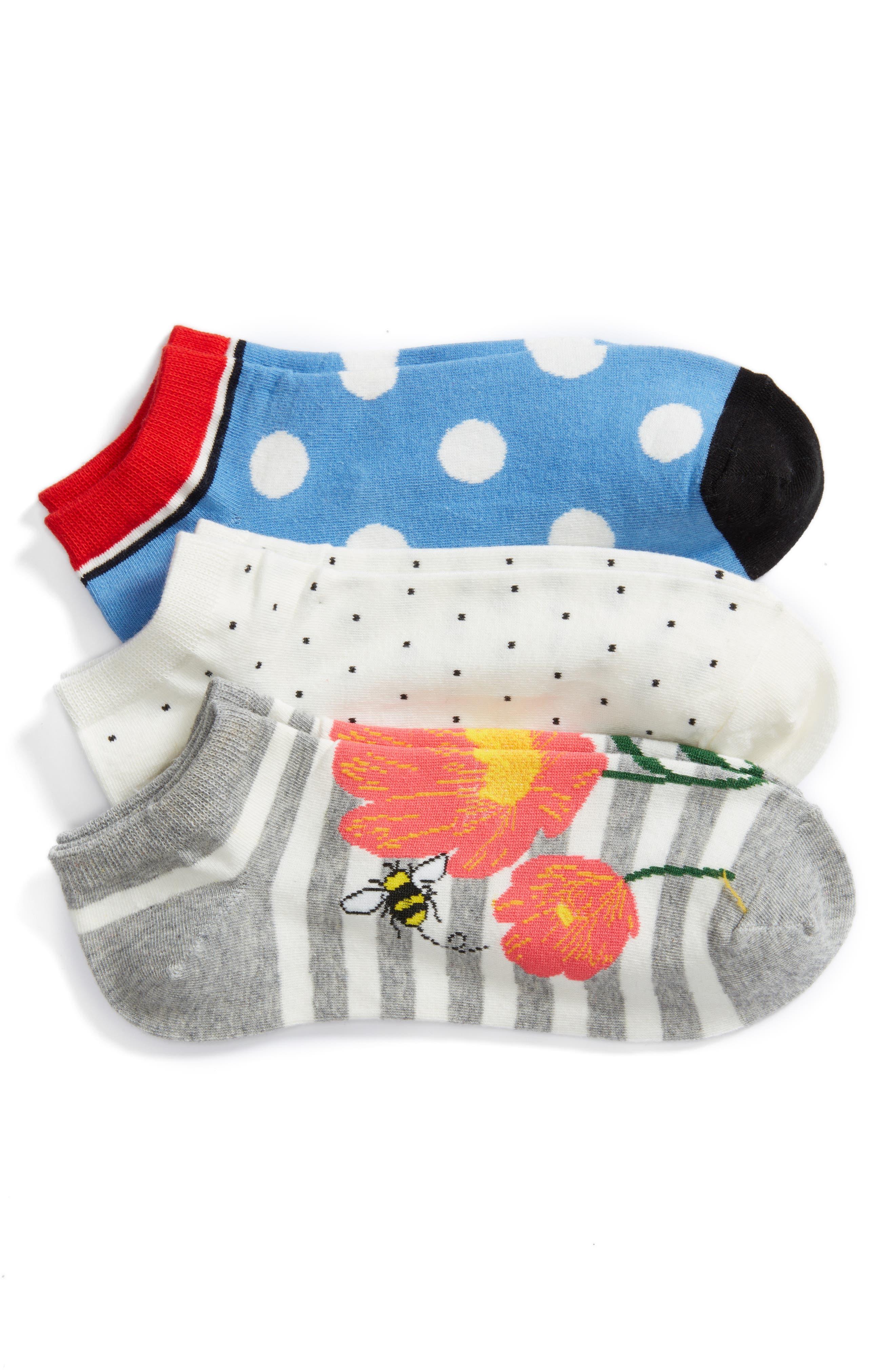 floral bee 3-pack no-show socks,                             Main thumbnail 1, color,