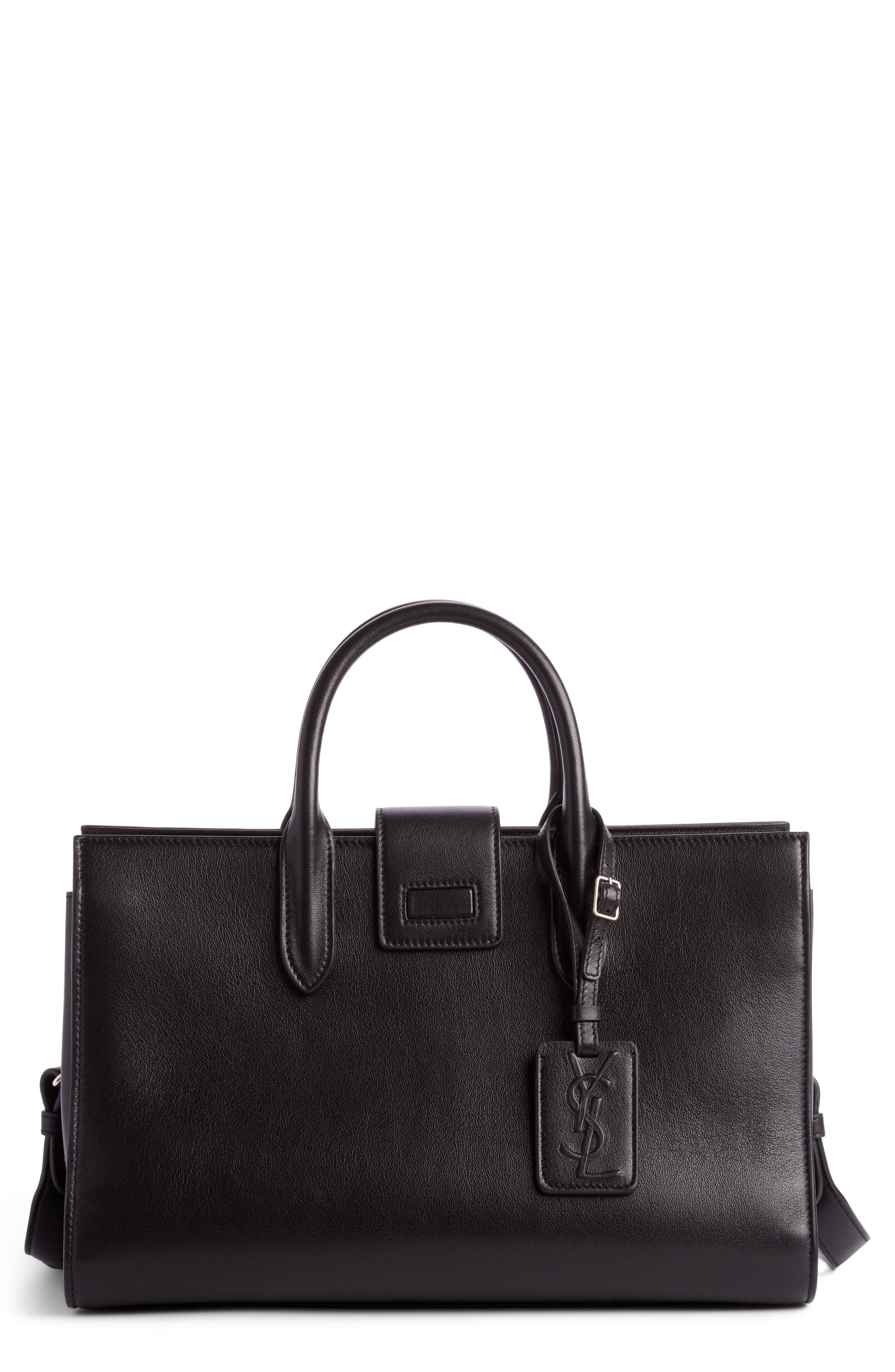 Medium Jane Cabas Leather Satchel,                         Main,                         color, 001