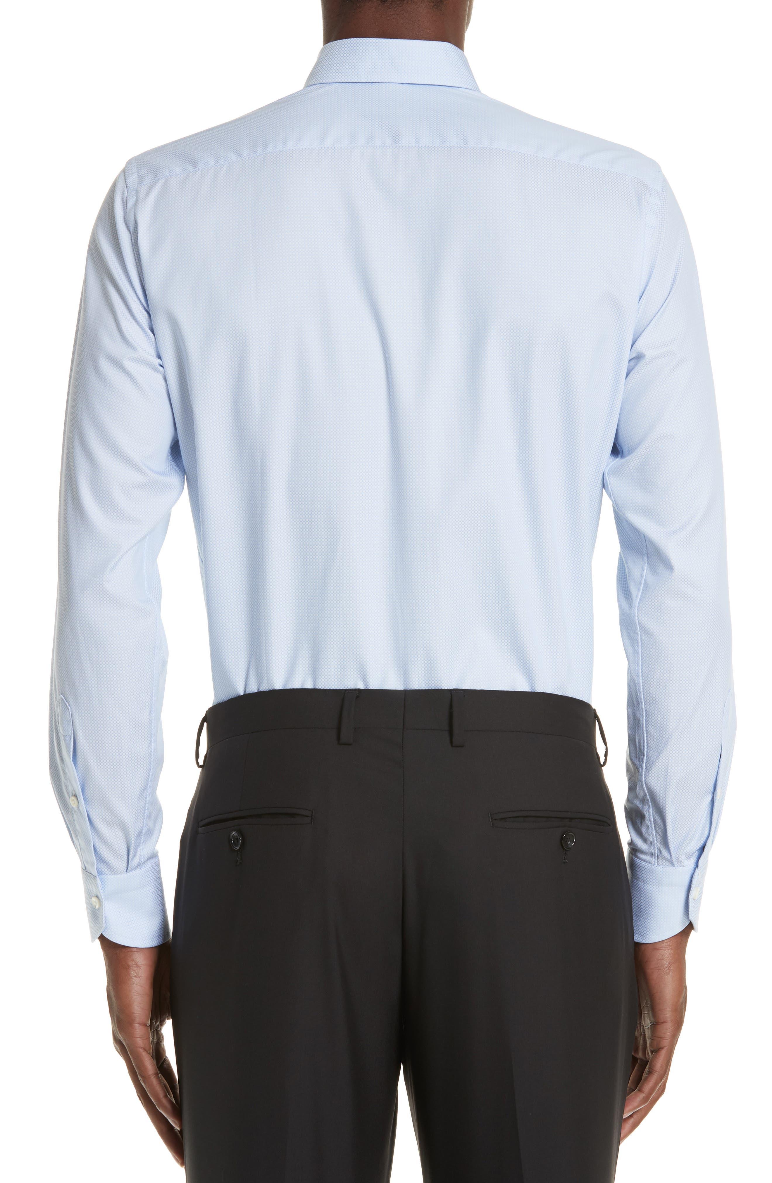 Trim Fit Geometric Dress Shirt,                             Alternate thumbnail 3, color,                             LIGHT BLUE