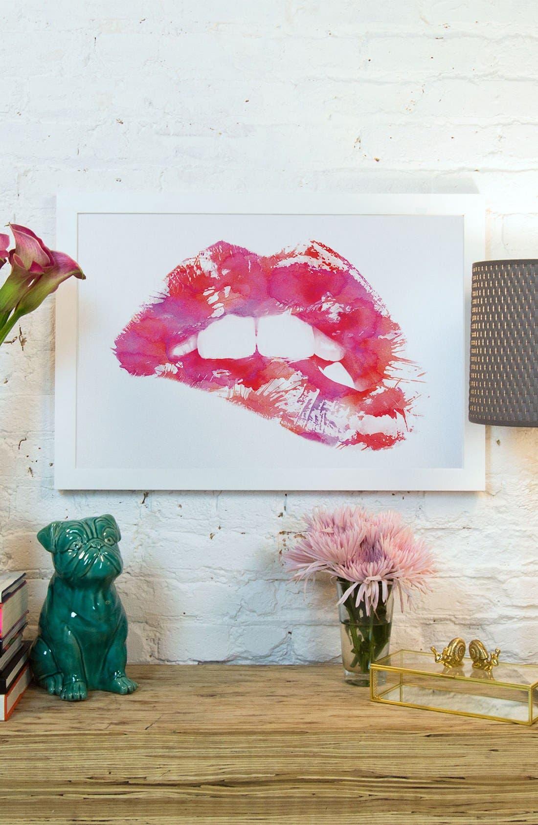 'Lippss' Framed Fine Art Print,                             Alternate thumbnail 2, color,                             PINK