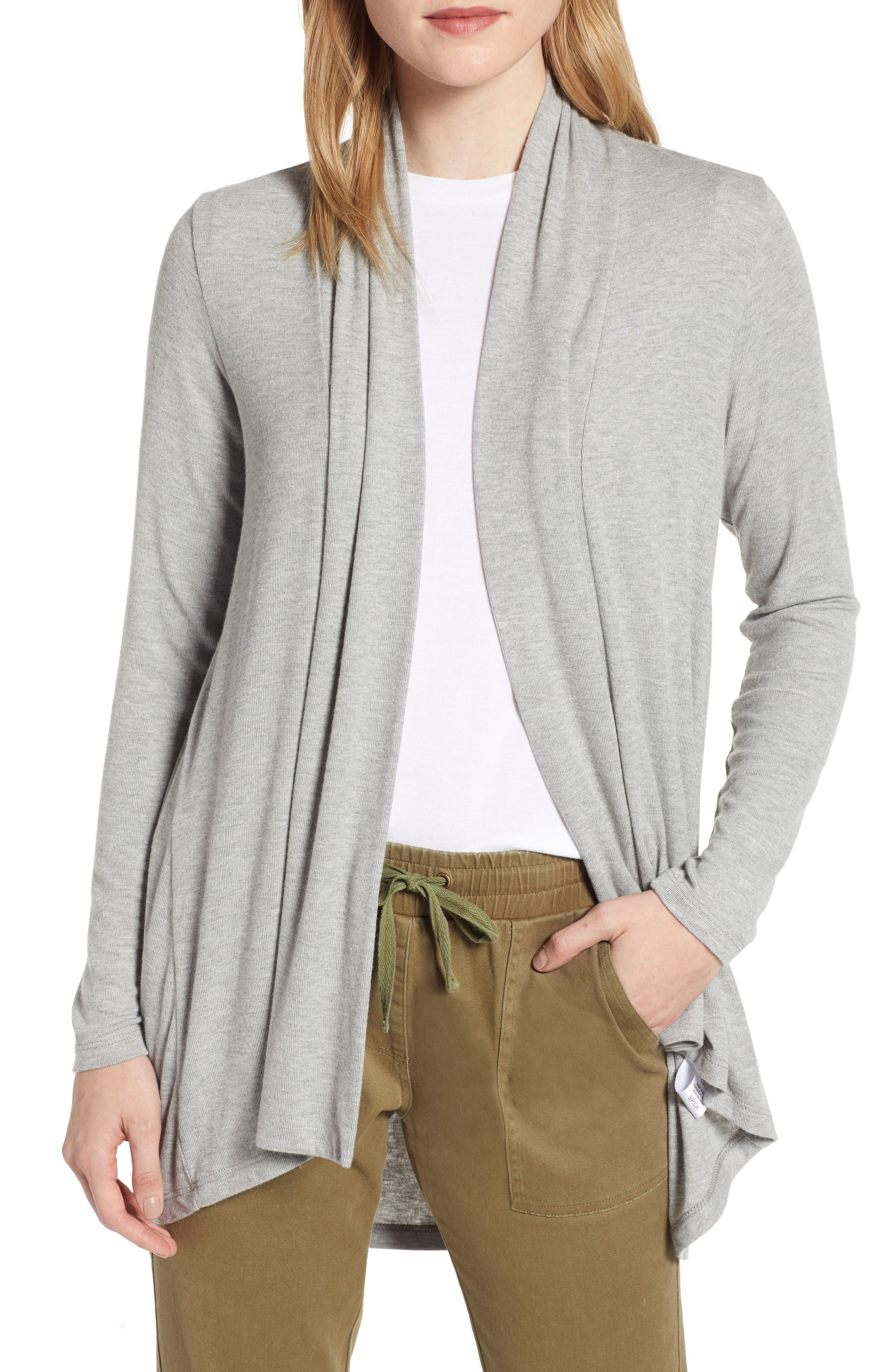 Bobeau High/low Jersey Cardigan, Grey