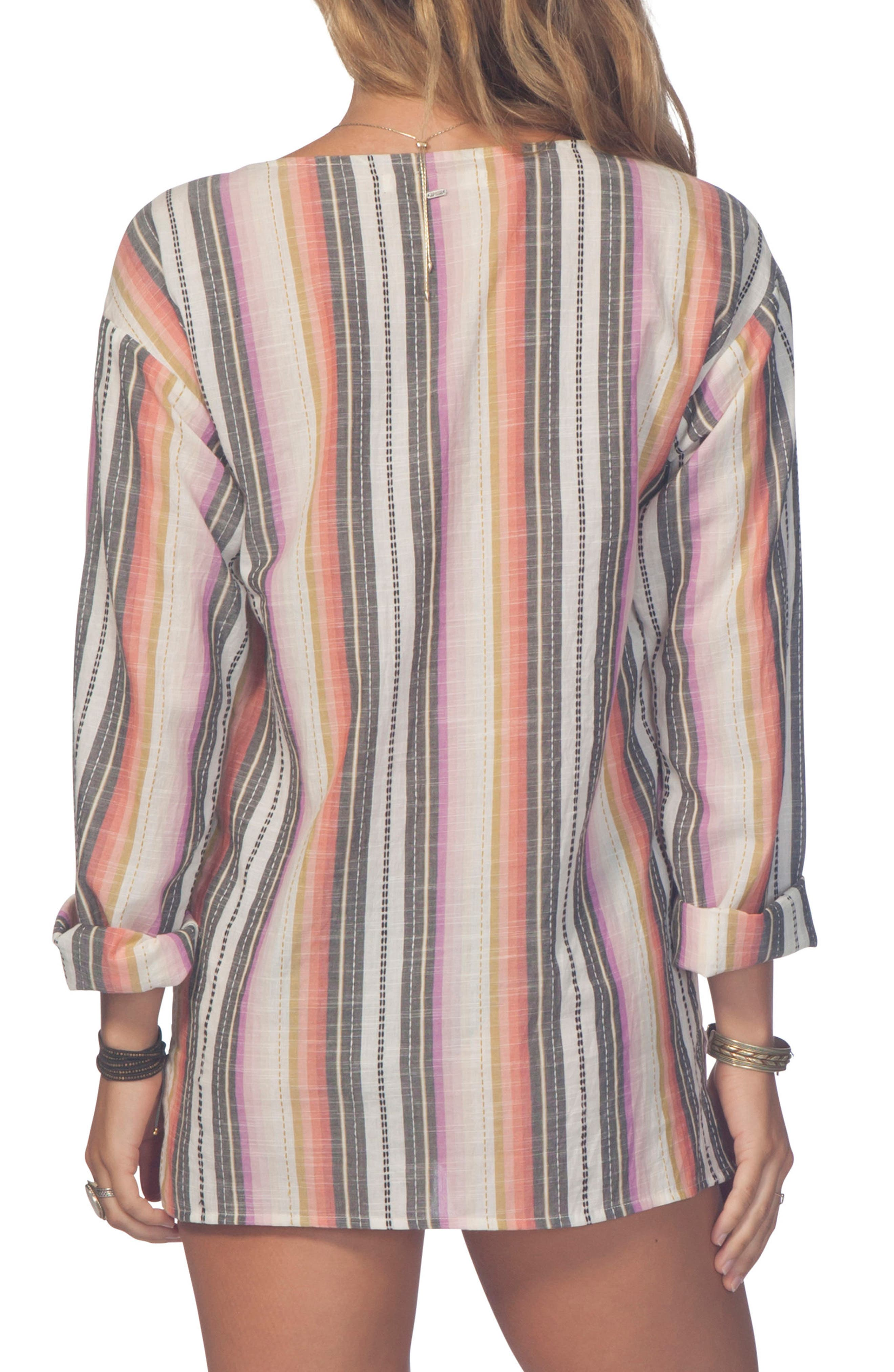 Sayulita Stripe Poncho Top,                             Alternate thumbnail 2, color,