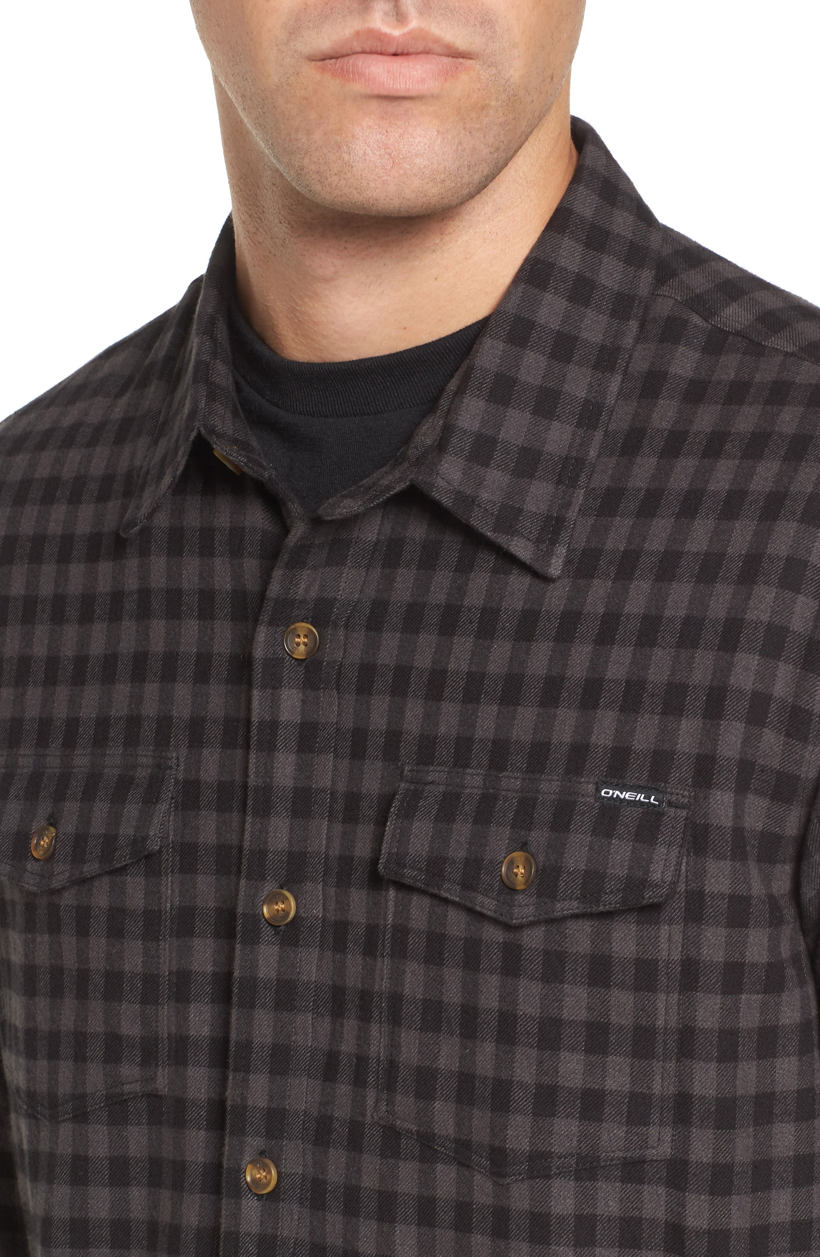 Gronk Lined Flannel Shirt,                             Alternate thumbnail 4, color,                             001