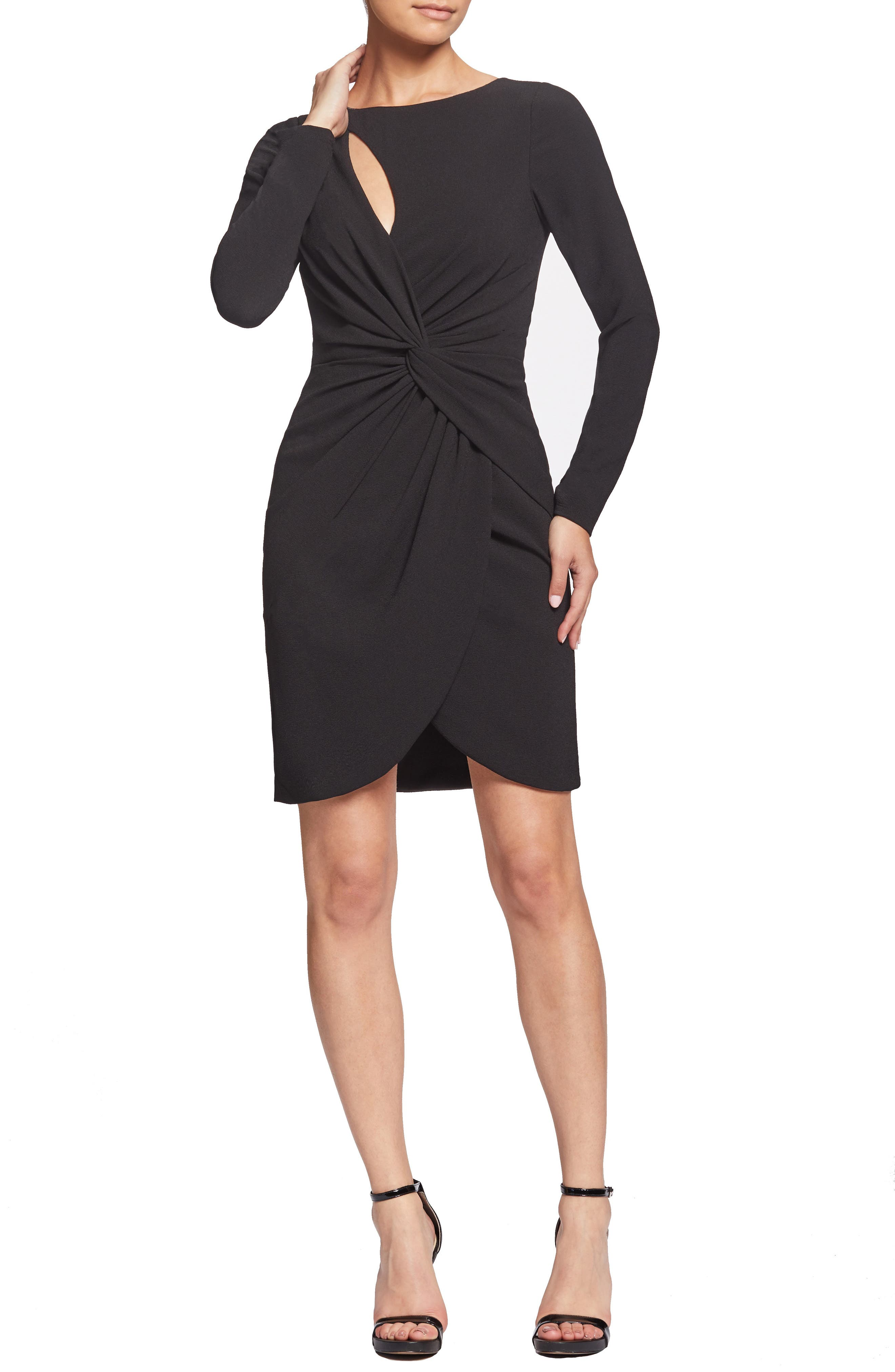 Dress The Population Coby Twisted Faux Wrap Cocktail Dress, Black